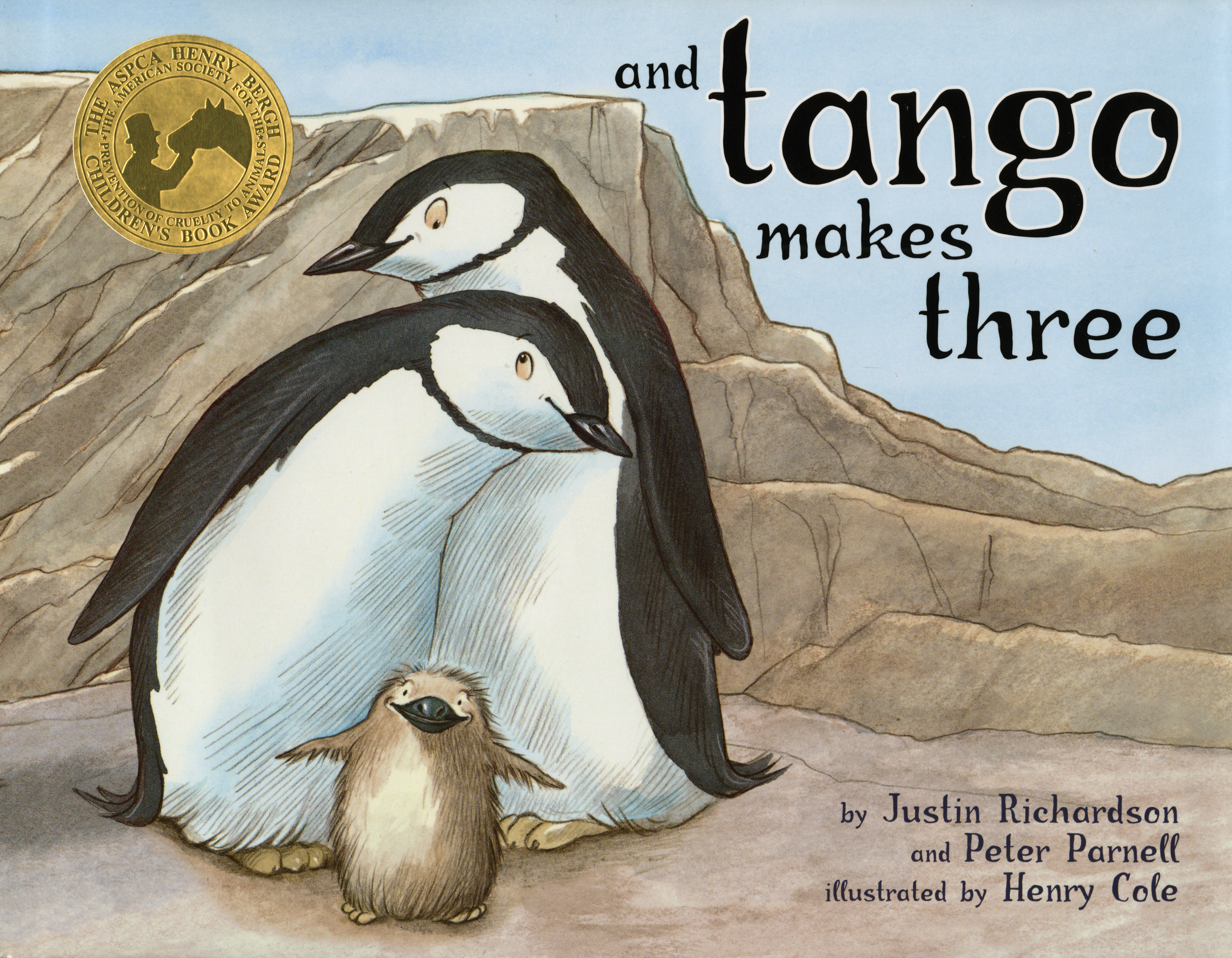 book cover for tango makes three. an illustration of two penguins entwined while standing, with one small penguin standing in front of them.