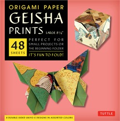 "Origami Paper - Geisha Prints - Large 8 1/4"" - 48 Sheets"