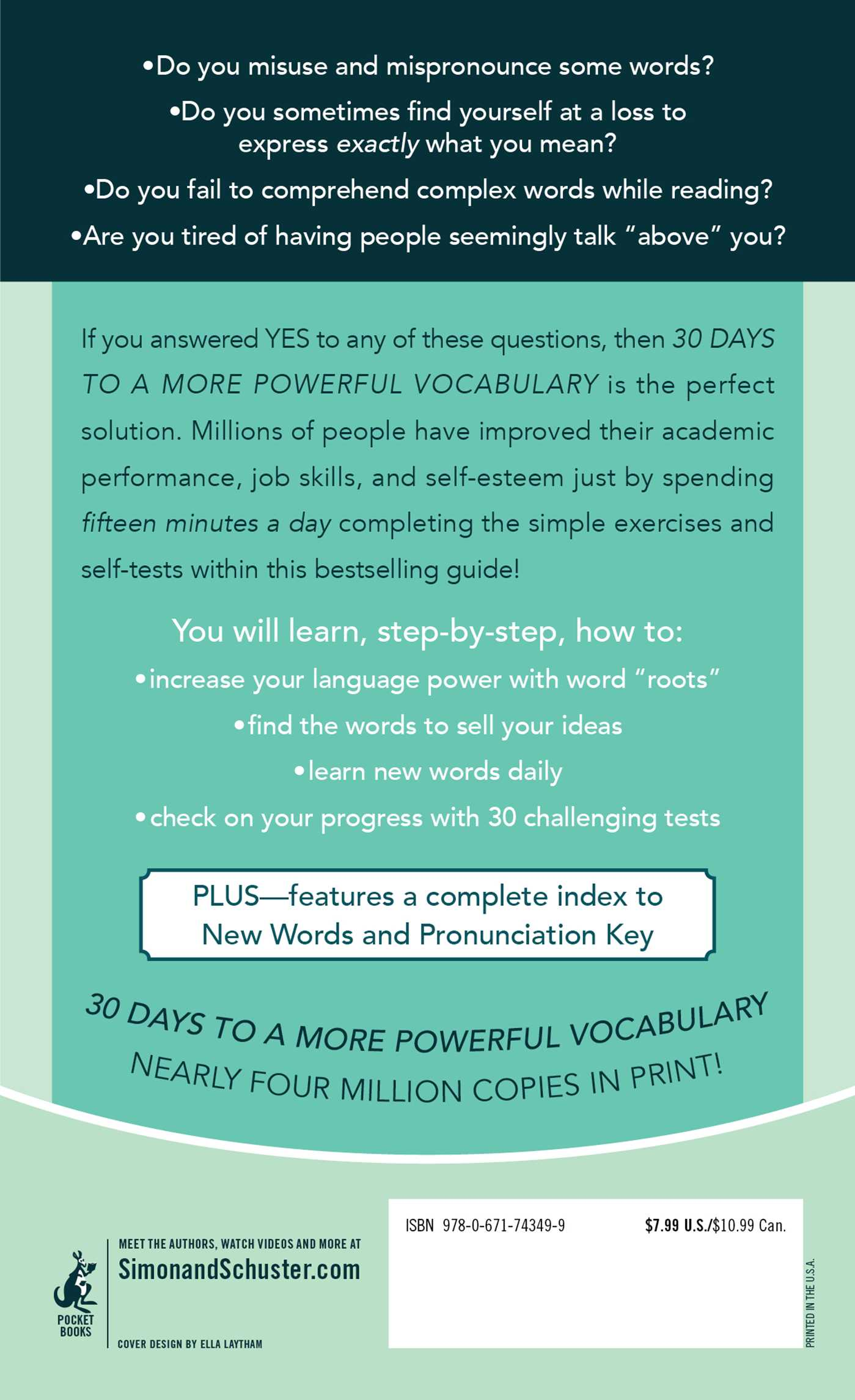 30 days to a more powerful vocabulary 9780671743499 hr back