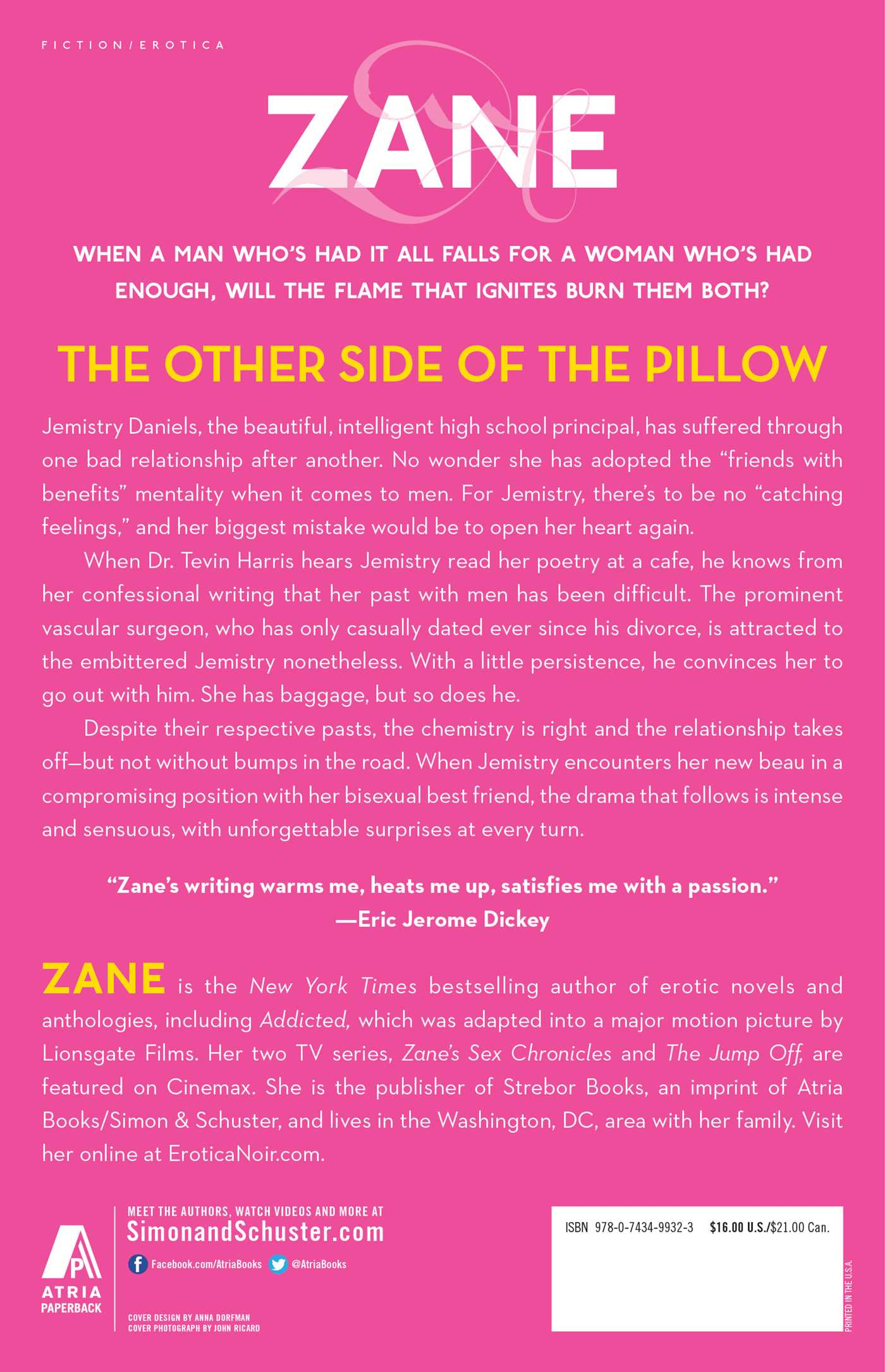 Zanes the other side of the pillow 9780743499323 hr back
