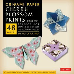 "Origami Paper - Cherry Blossom Patterns - Large - 8 1/4"" - 48 Sheets"