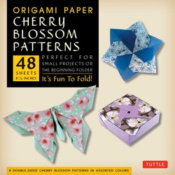 "Origami Paper- Cherry Blossom Prints Large- 8 1/4"" 48 sheets"