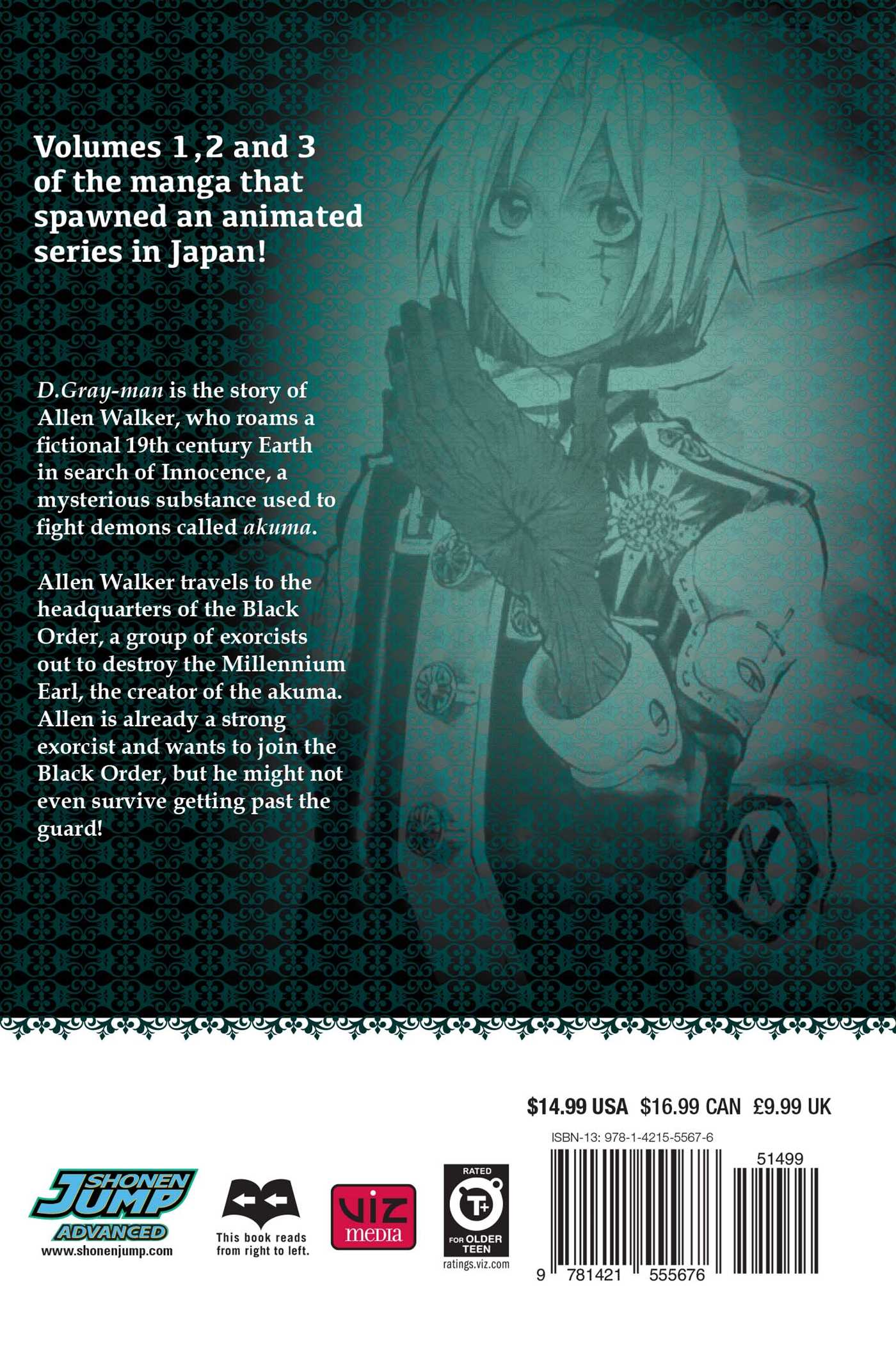 D gray man 3 in 1 edition vol 1 9781421555676 hr back