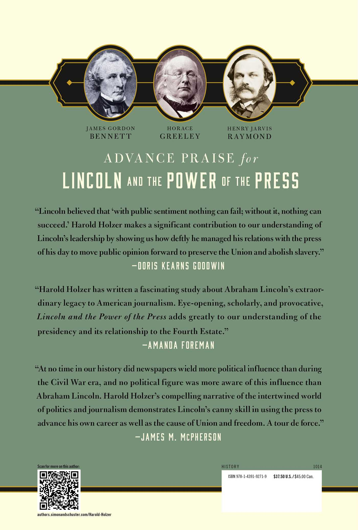 Lincoln and the power of the press 9781439192719 hr back