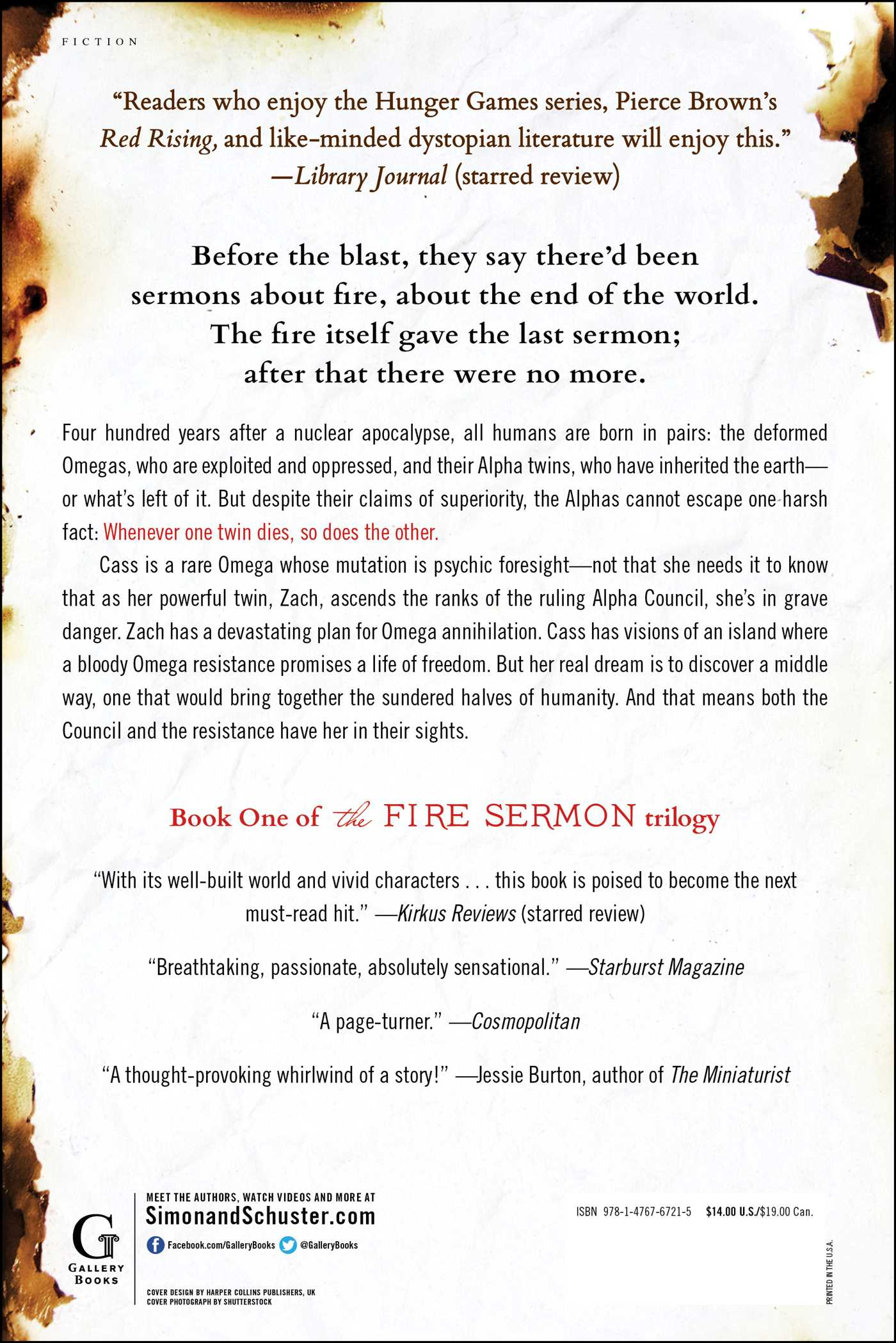 The fire sermon 9781476767215 hr back