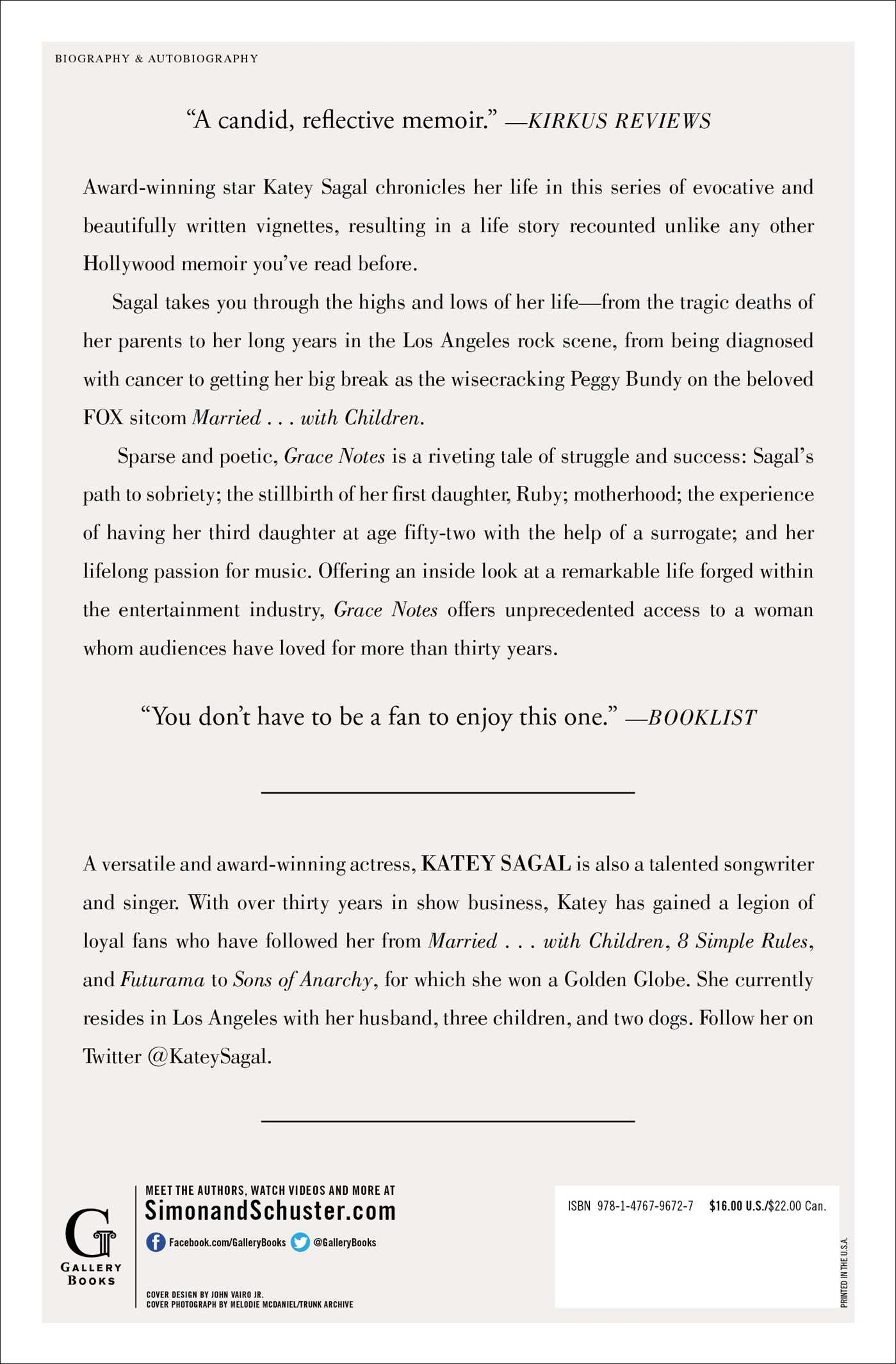 Grace notes book by katey sagal official publisher page grace notes 9781476796727 hr grace notes 9781476796727 hr back hexwebz Images