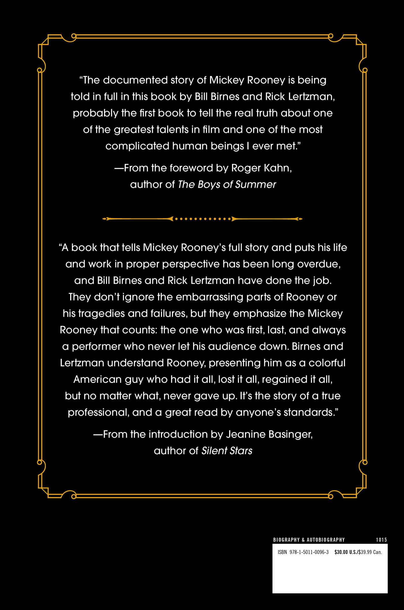 The life and times of mickey rooney 9781501100963 hr back