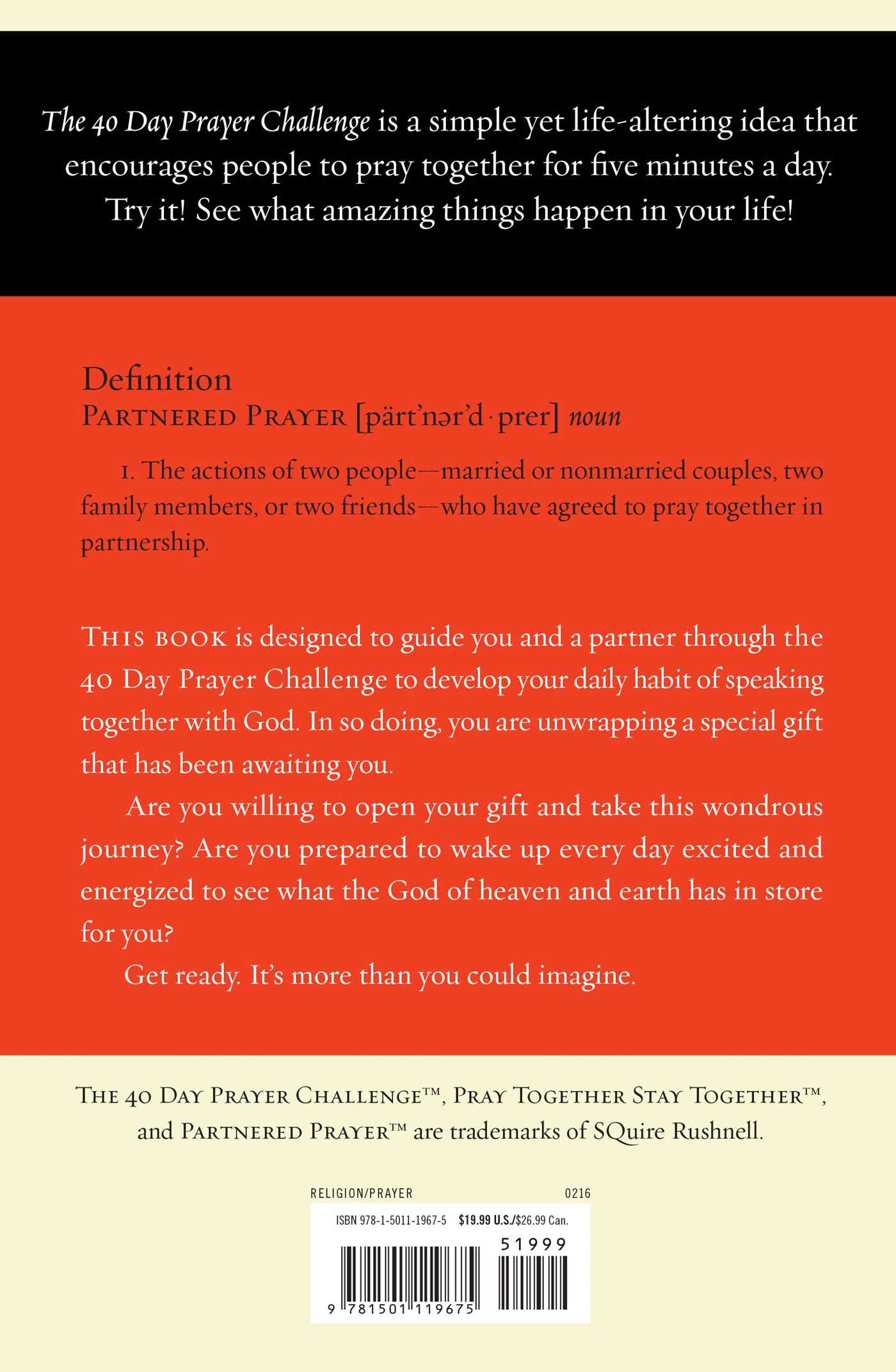The 40 day prayer challenge 9781501119675 hr back