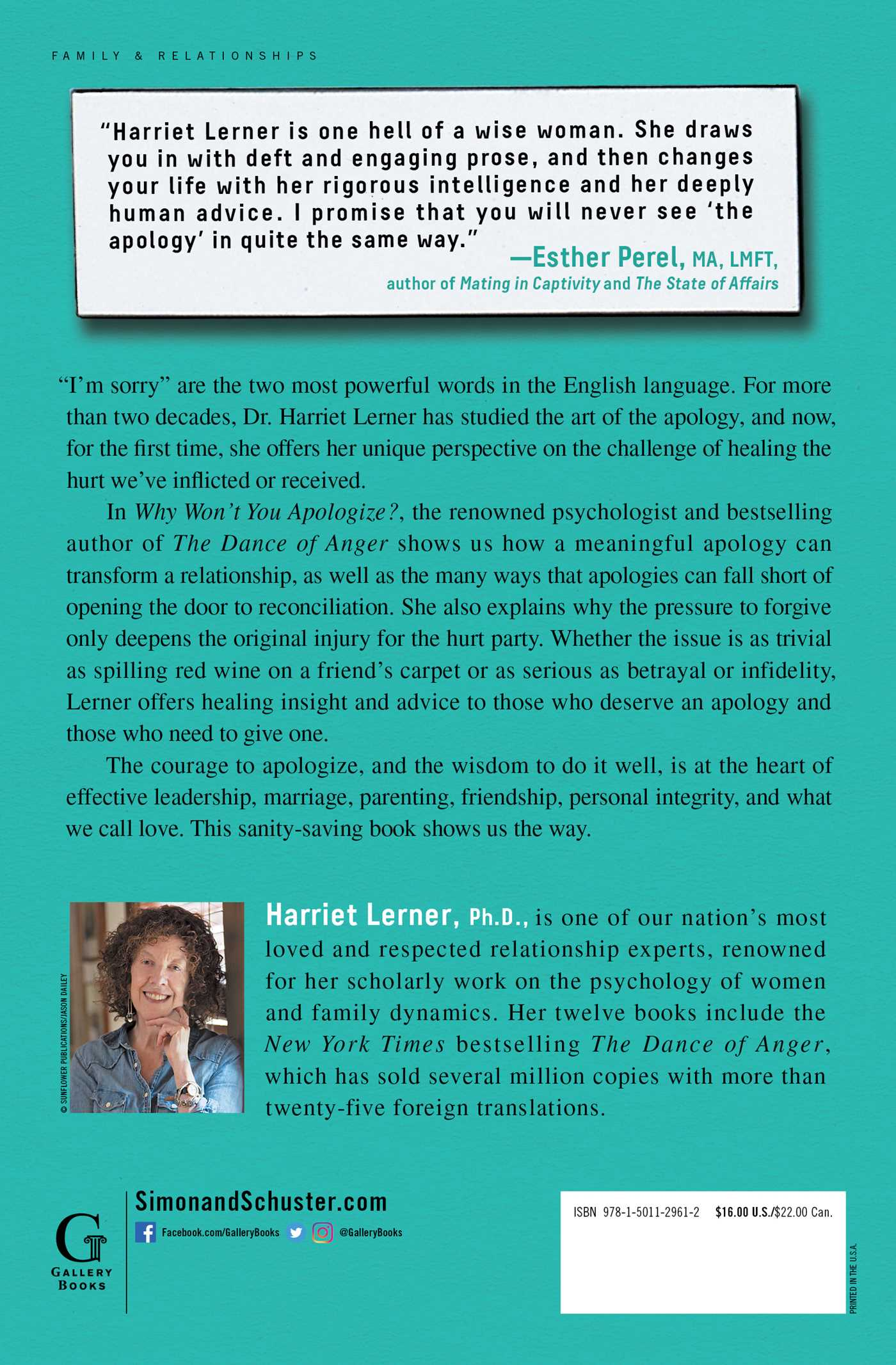 Why wont you apologize book by harriet lerner official why wont you apologize 9781501129612 hr back fandeluxe PDF