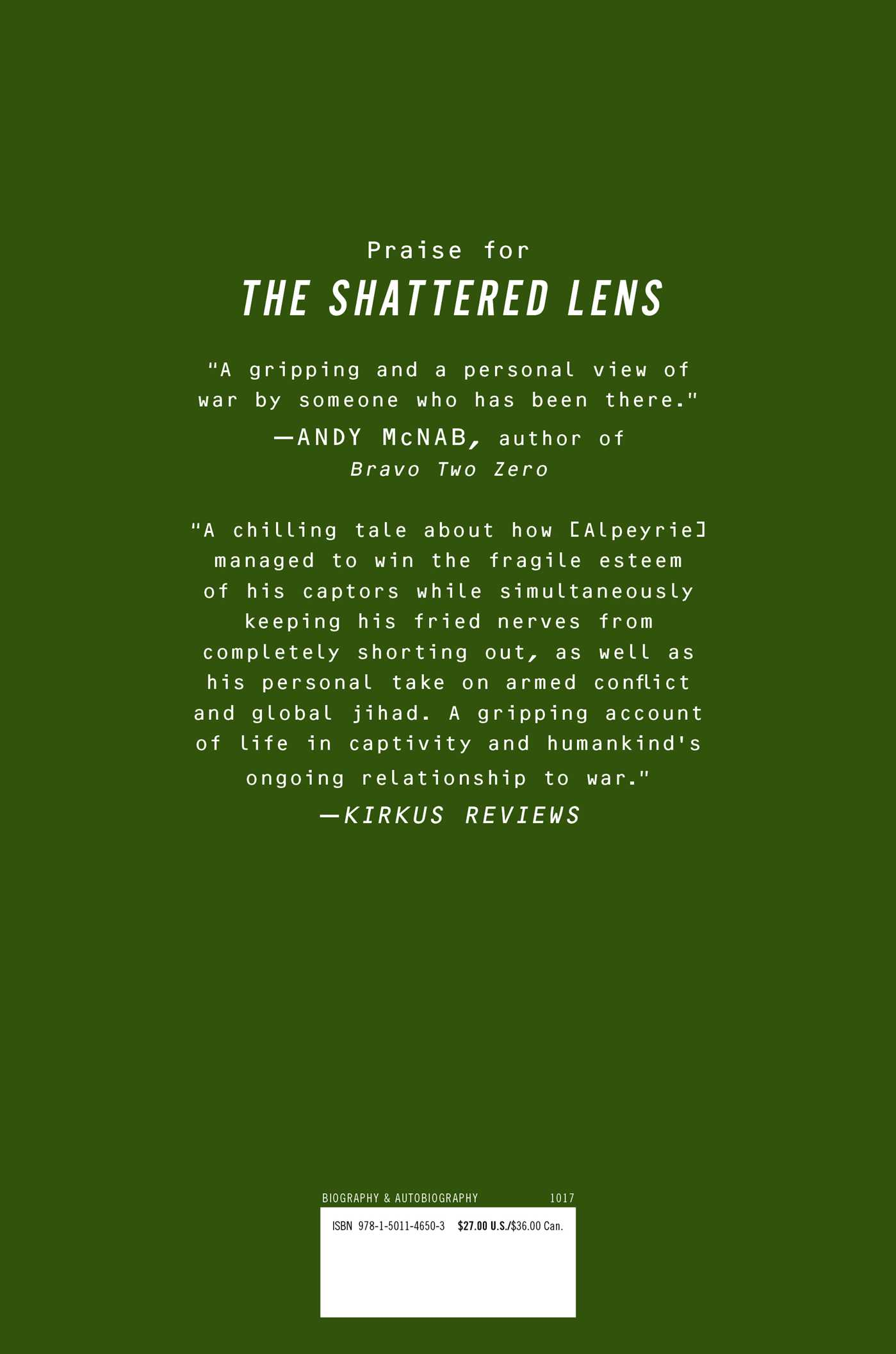 The shattered lens 9781501146503 hr back