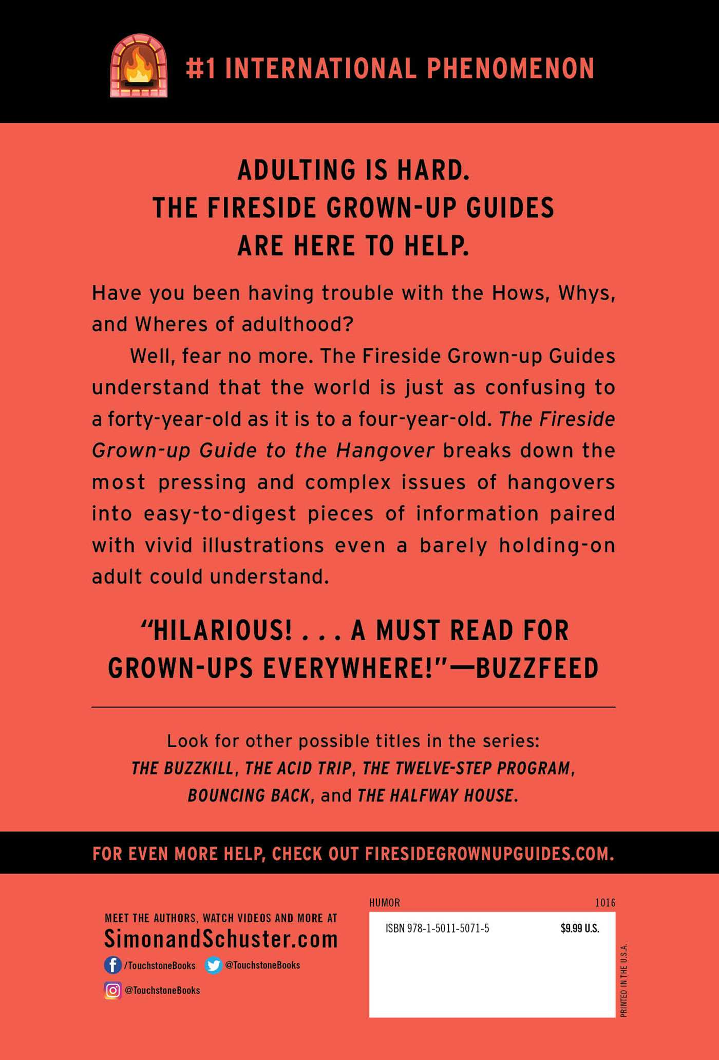 The fireside grown up guide to the hangover 9781501150715 hr back