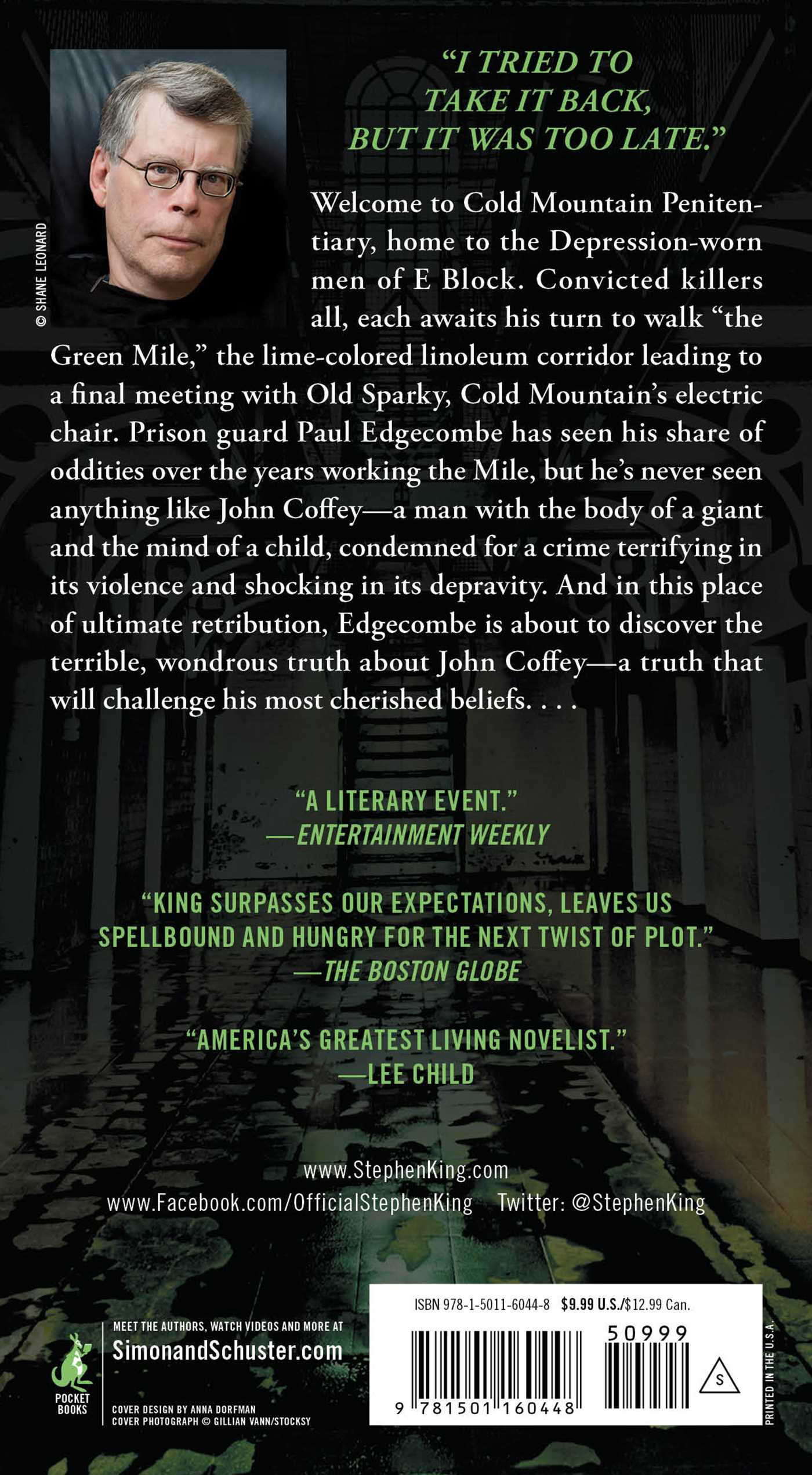 The green mile 9781501160448 hr back
