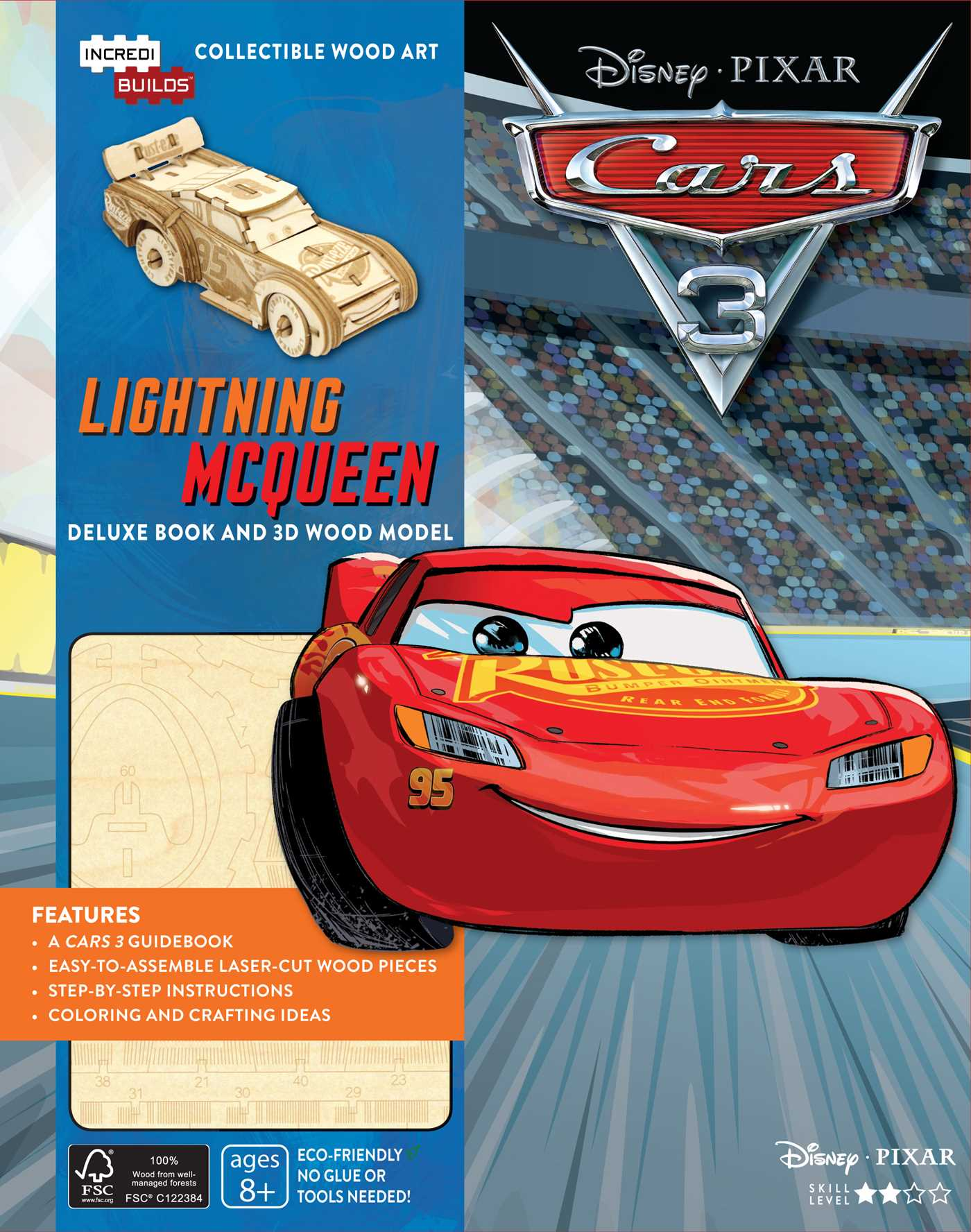 incredibuilds disney pixar cars 3 lightning mcqueen deluxe book and model set 9781682981221 hr