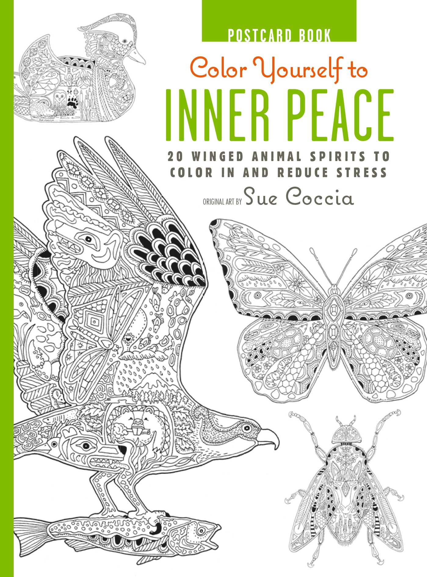 color yourself to inner peace postcard book book by sue coccia