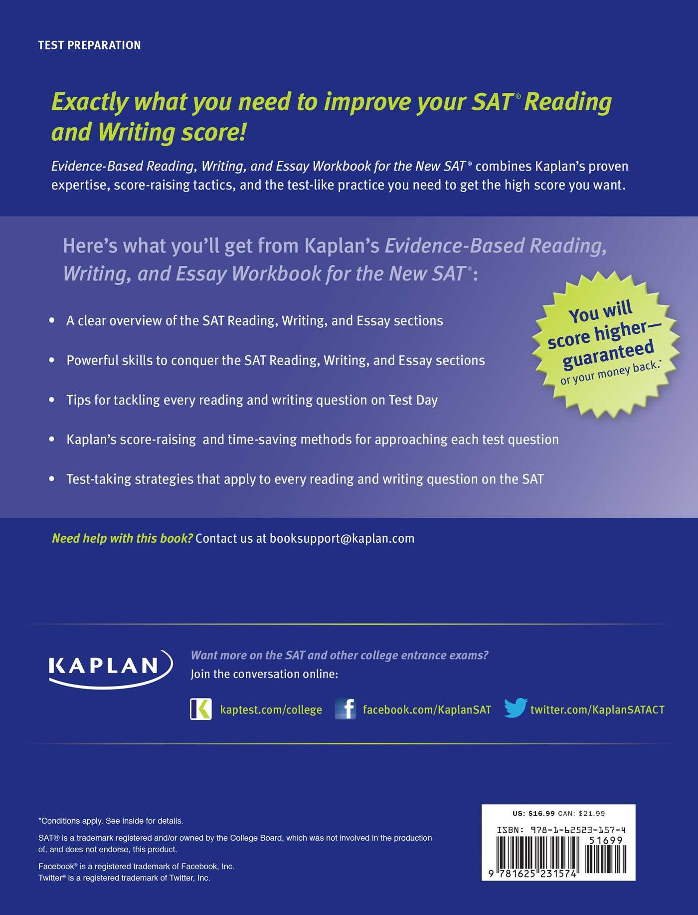 kaplan evidence based reading writing and essay workbook for the kaplan evidence based reading writing and essay workbook for the new sat 9781625231574 in01