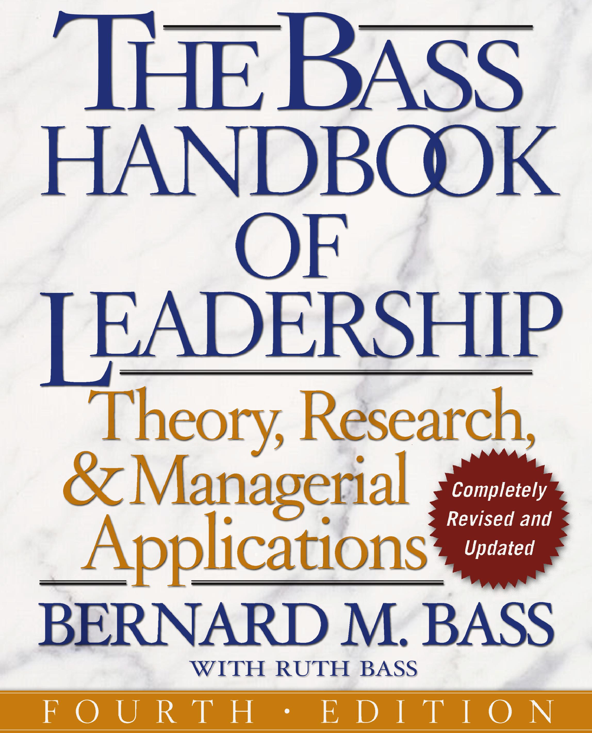 The Bass Handbook of Leadership   Book by Bernard M  Bass