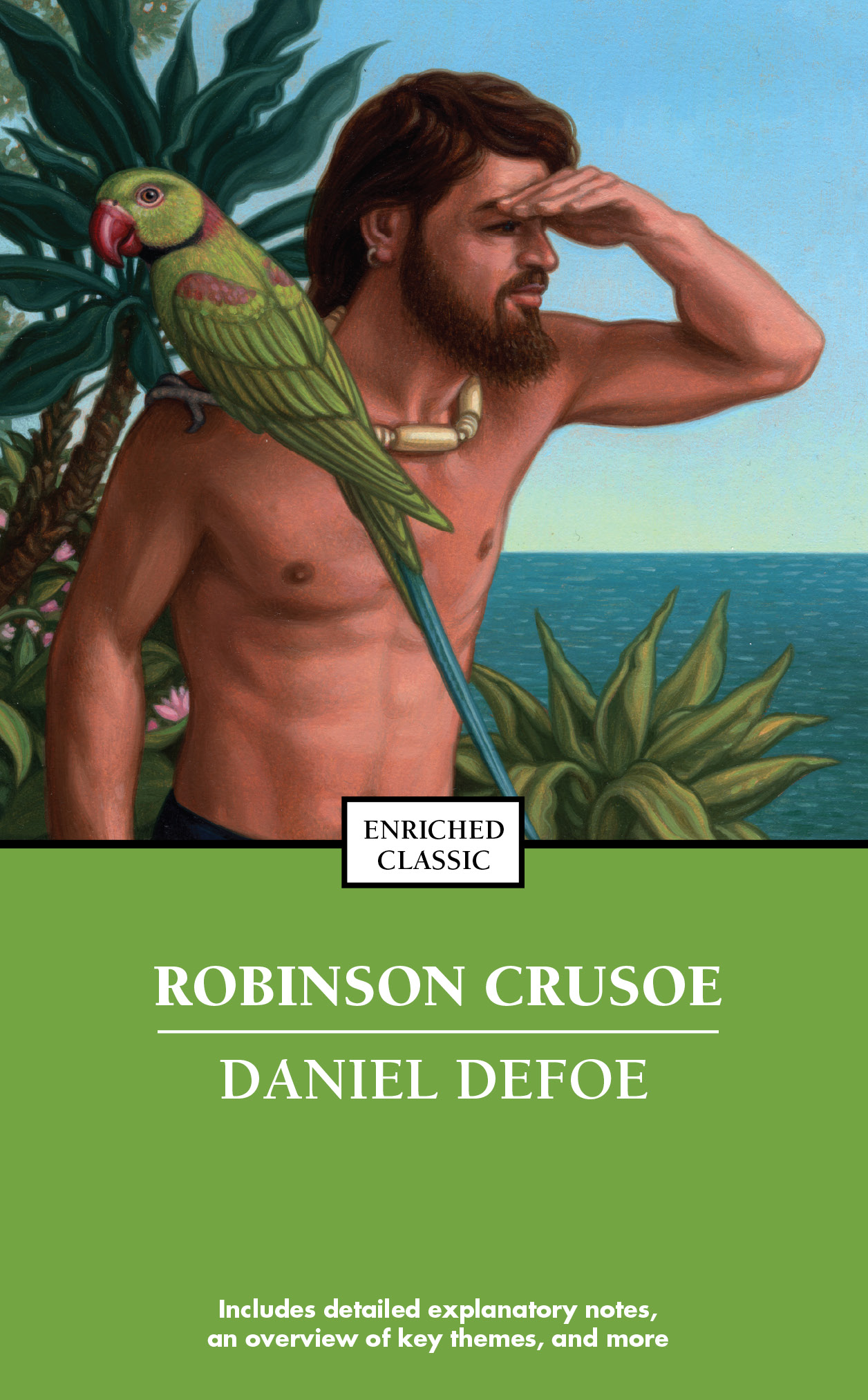 What are several of the major themes in Daniel Defoe's novel Robinson Crusoe?
