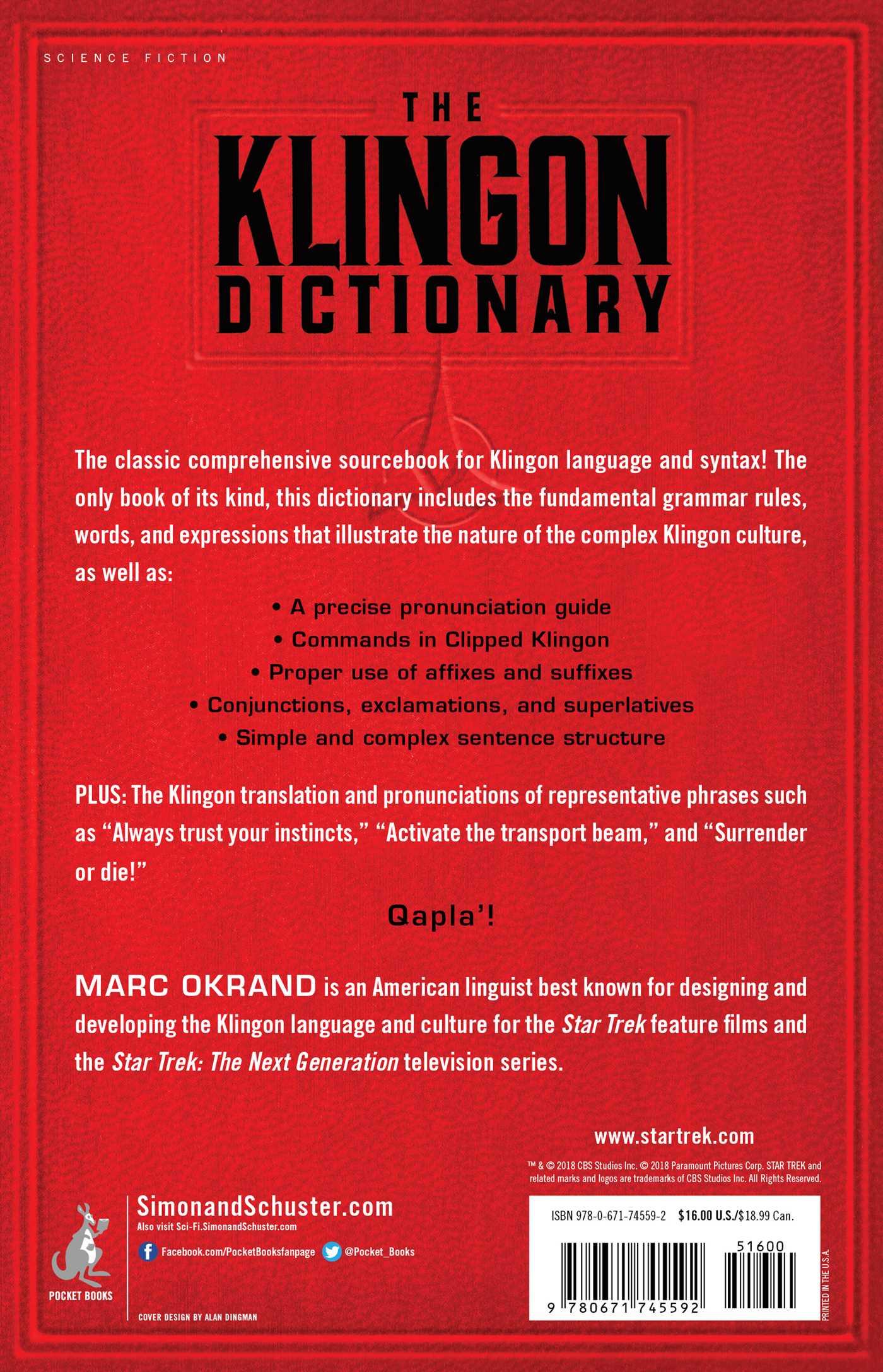 The klingon dictionary 9780671745592 hr back