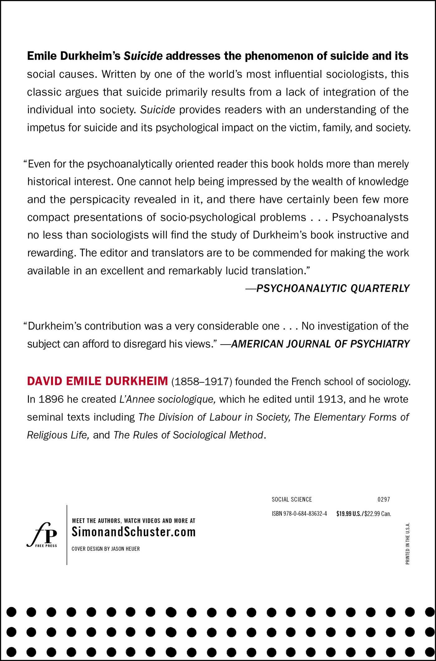 Suicide book by john a spaulding george simpson emile durkheim suicide 9780684836324 hr suicide 9780684836324 hr back fandeluxe Gallery