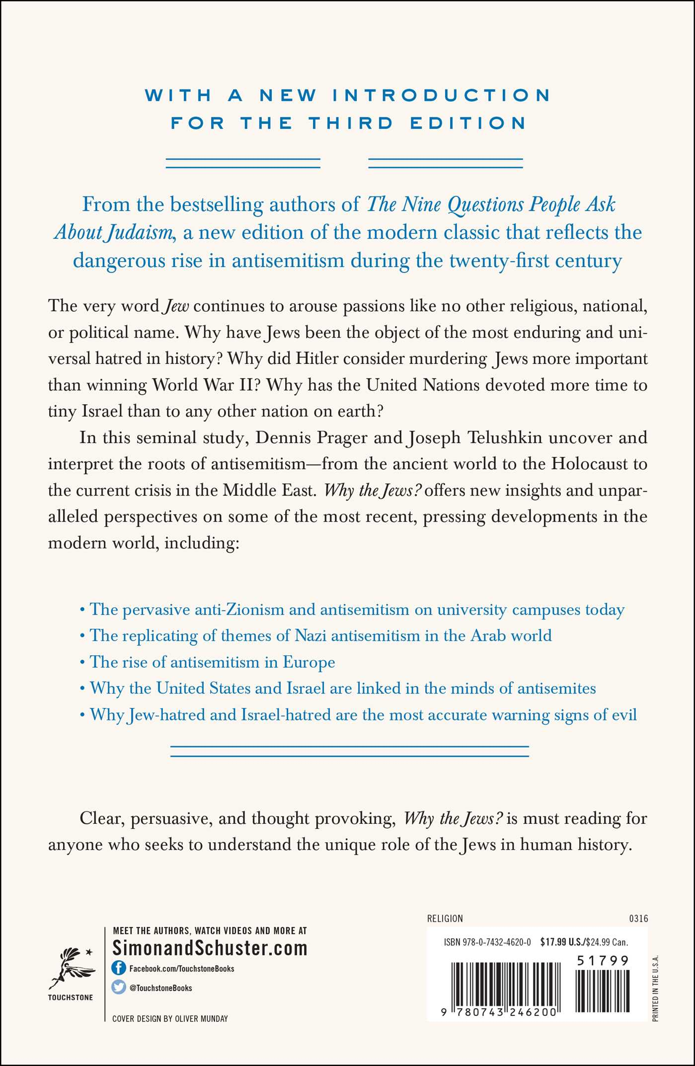 Why the jews book by dennis prager joseph telushkin official why the jews 9780743246200 hr back fandeluxe Gallery