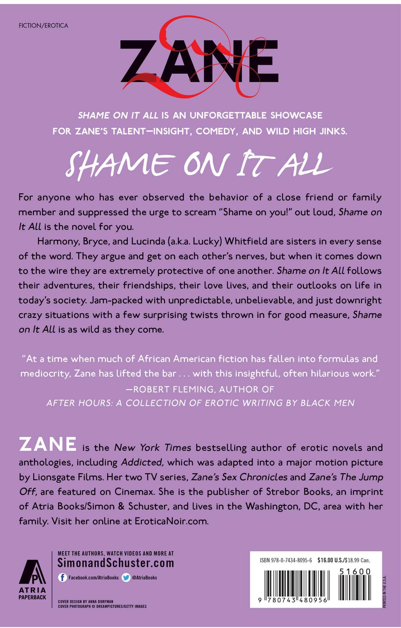 Zanes shame on it all 9780743480956 hr back