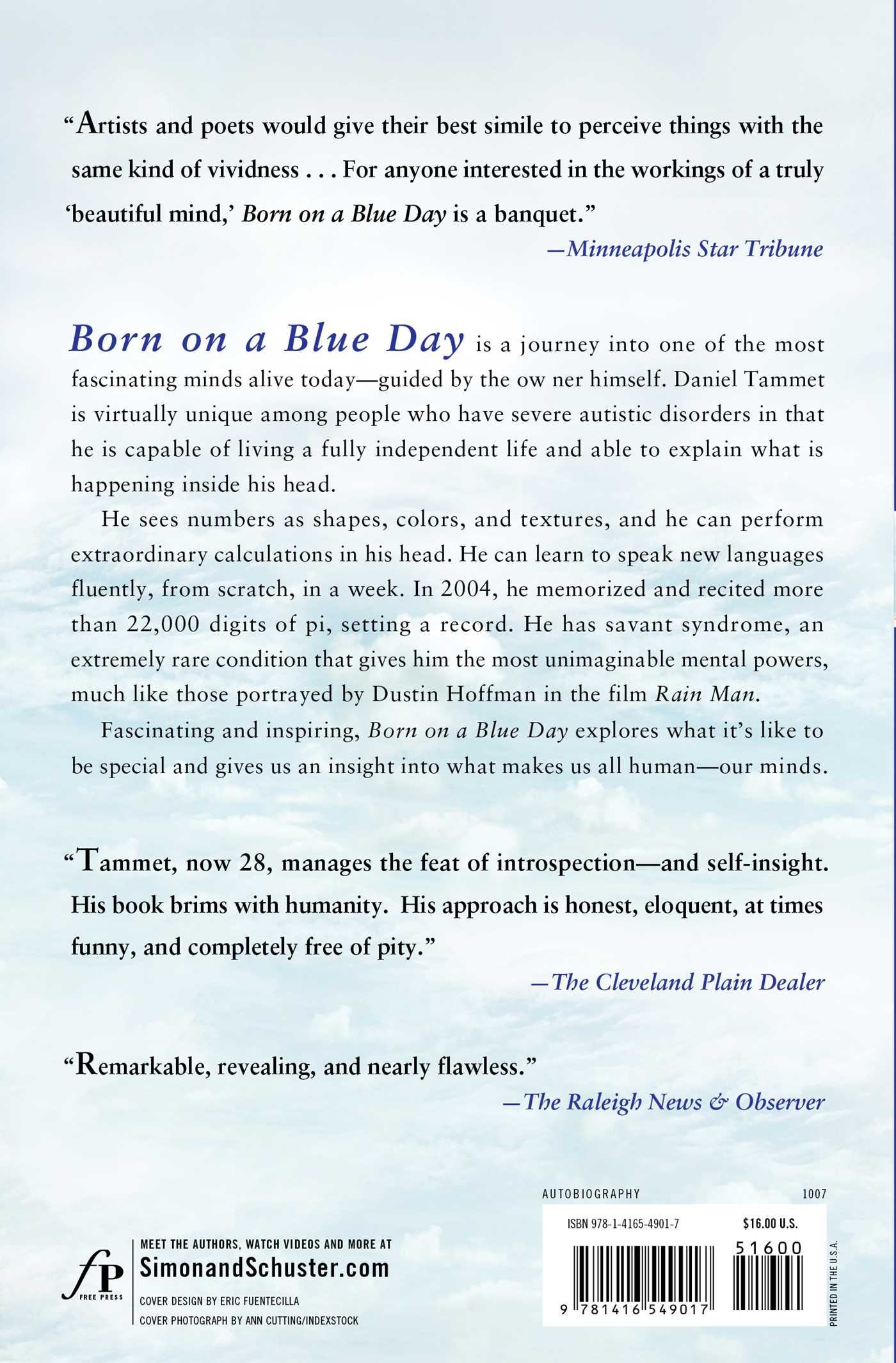 Born on a blue day 9781416549017 hr back
