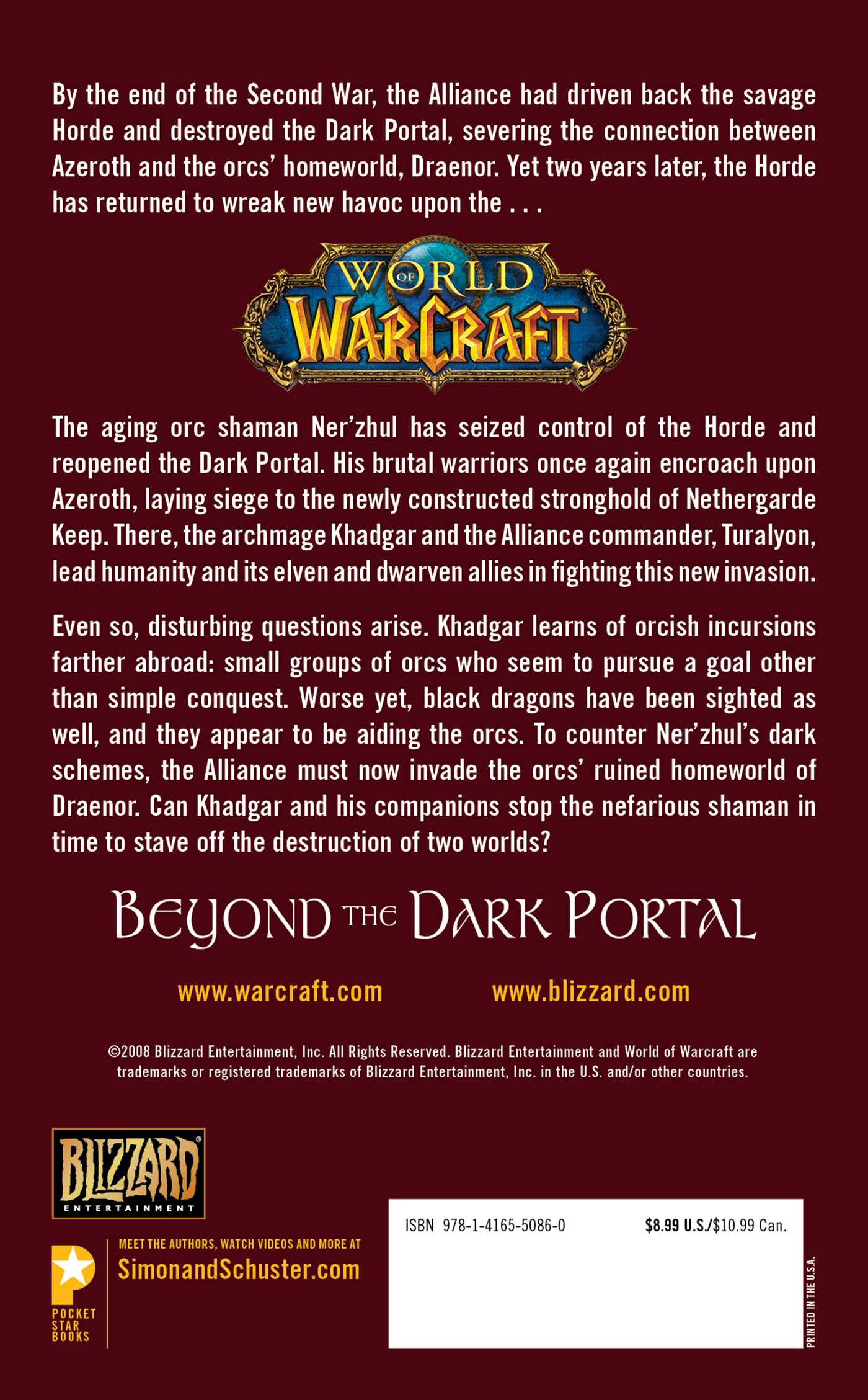 World of warcraft beyond the dark portal 9781416550860 hr back