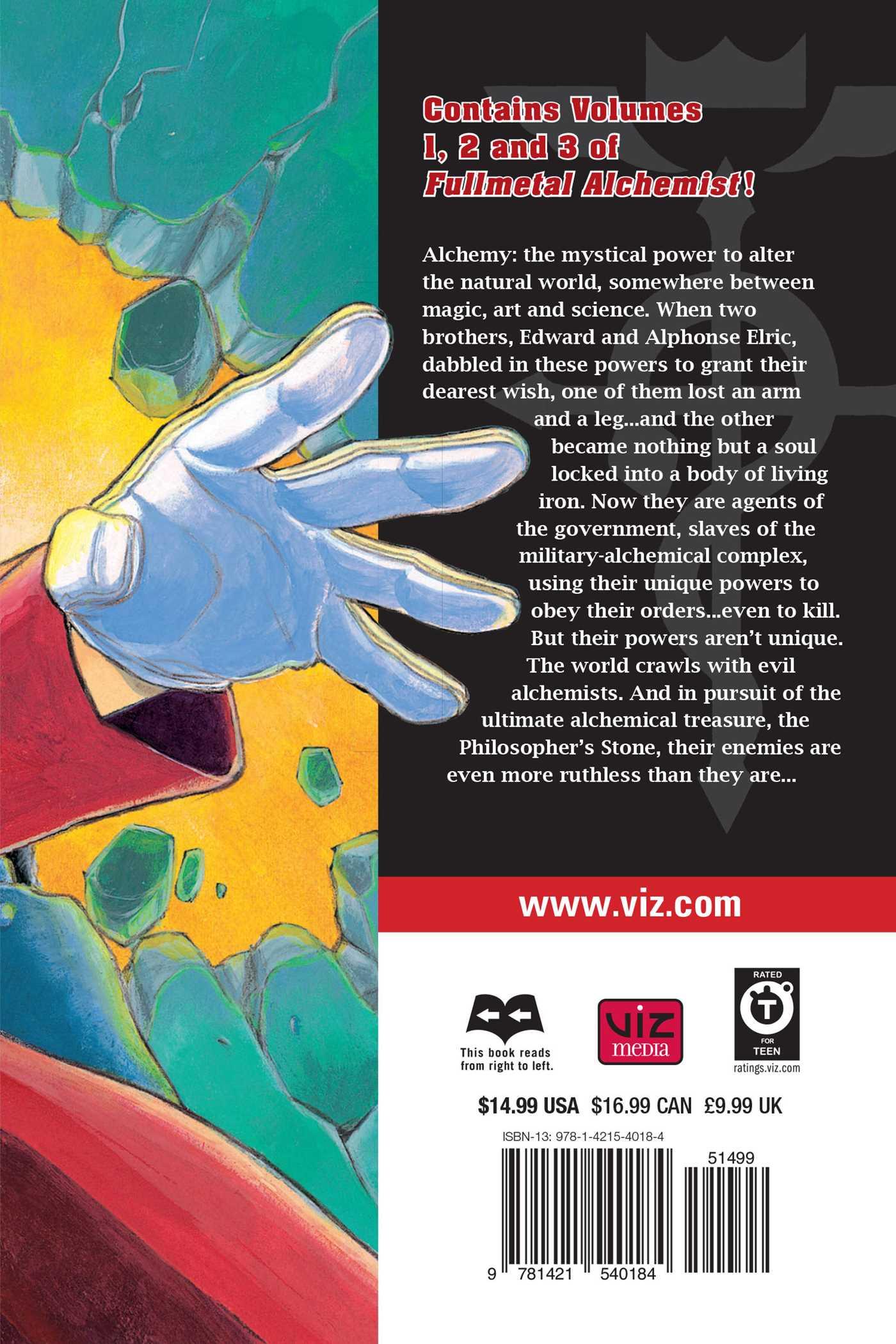 Fullmetal alchemist 3 in 1 edition vol 1 9781421540184 hr back