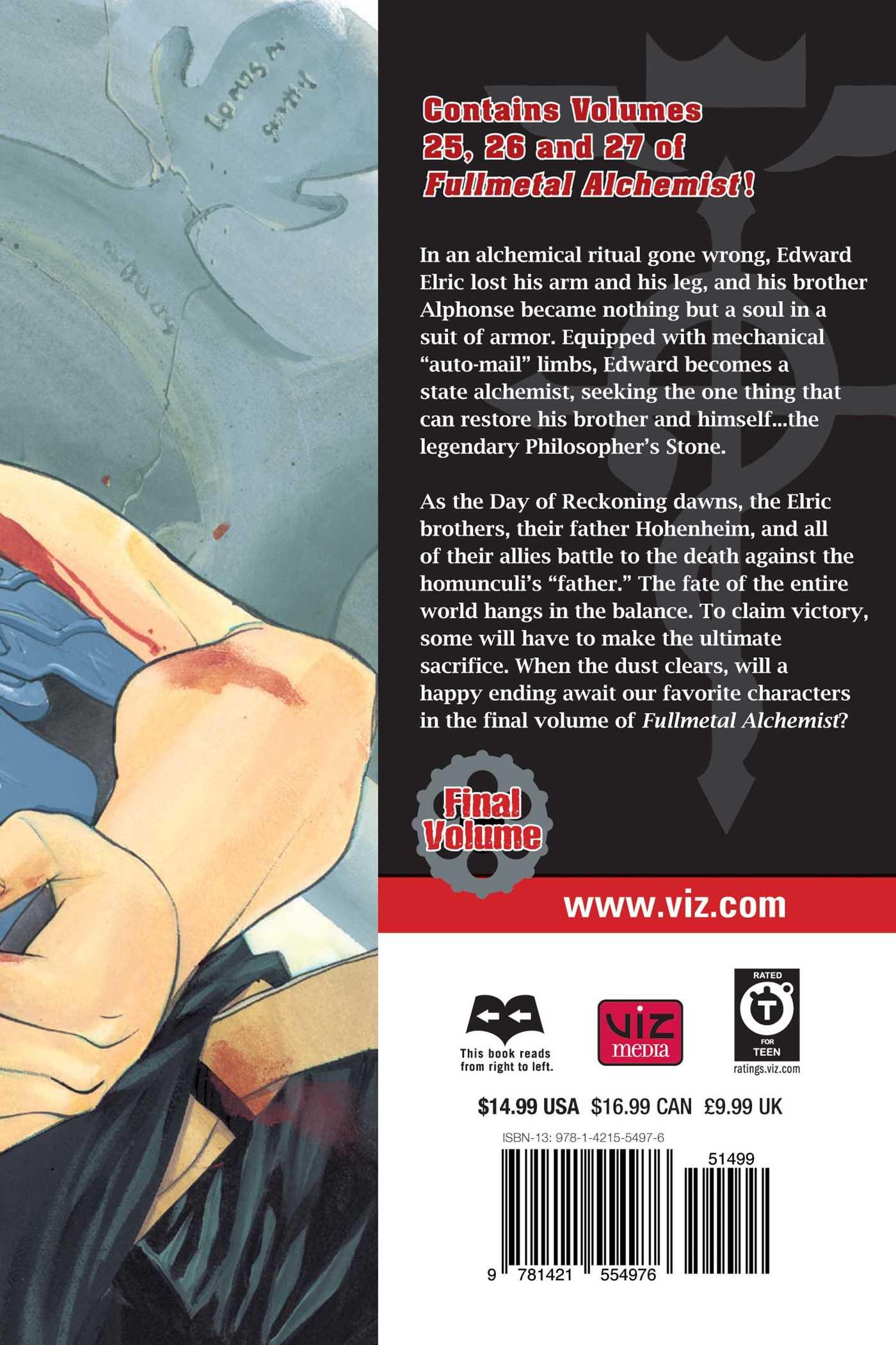 Fullmetal alchemist 3 in 1 edition vol 9 9781421554976 hr back