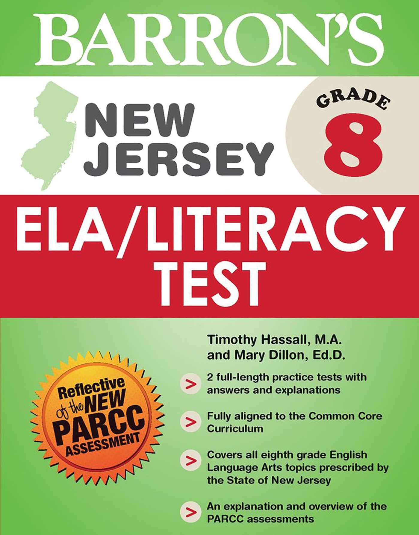 Barron's New Jersey Grade 8 ELA/Literacy Test   Book by Mary