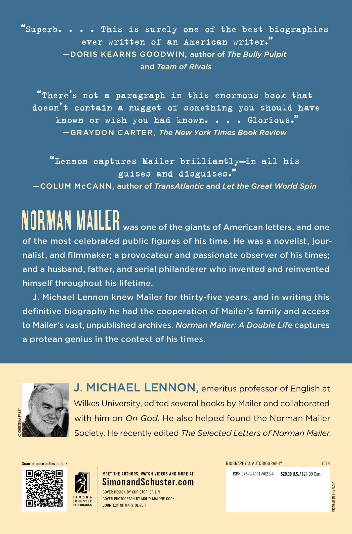 Norman mailer a double life 9781439150214 hr back