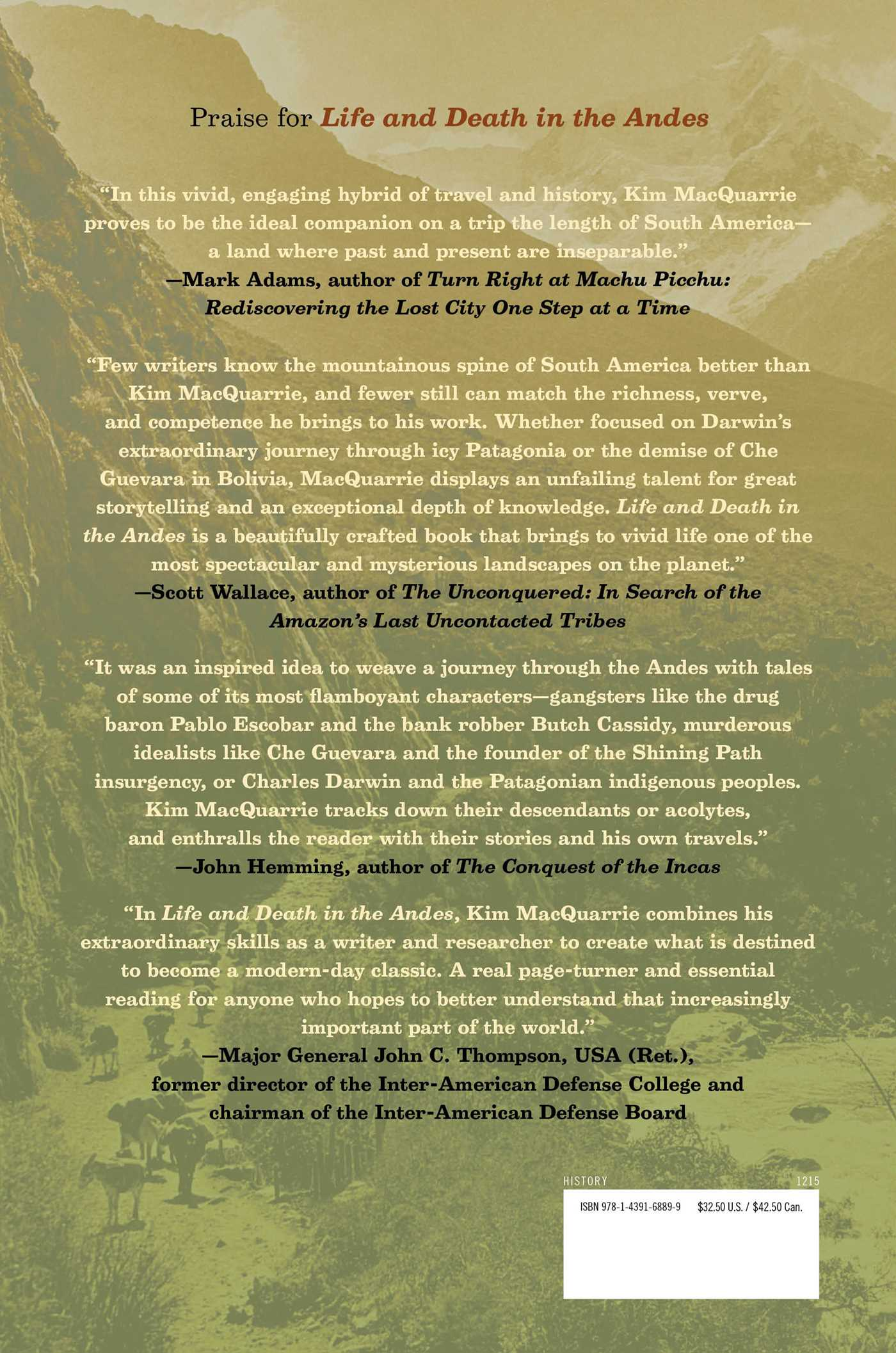 Life and death in the andes 9781439168899 hr back