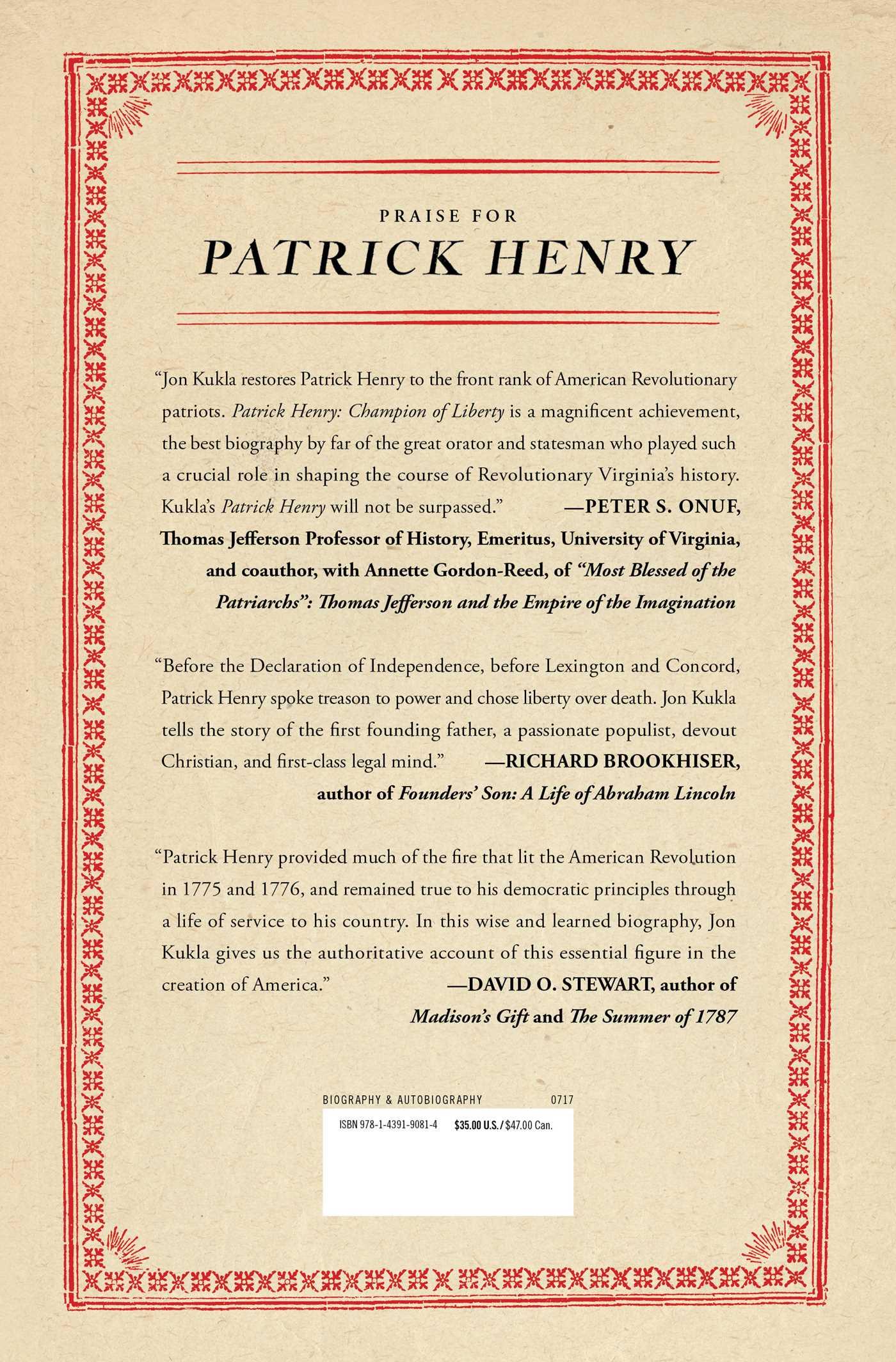 Patrick henry 9781439190814 hr back