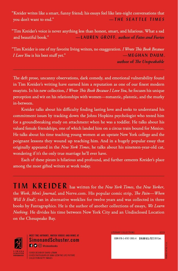 I Wrote This Book Because I Love You | Book by Tim Kreider