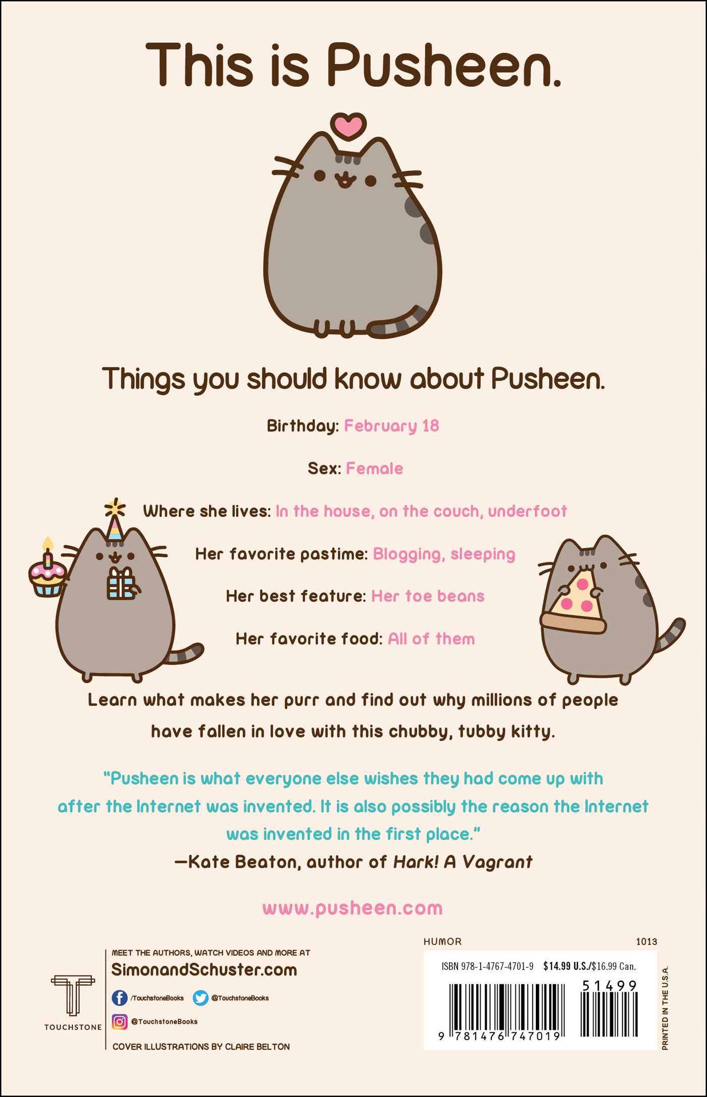 Perfect ... I Am Pusheen The Cat 9781476747019 Hr Back