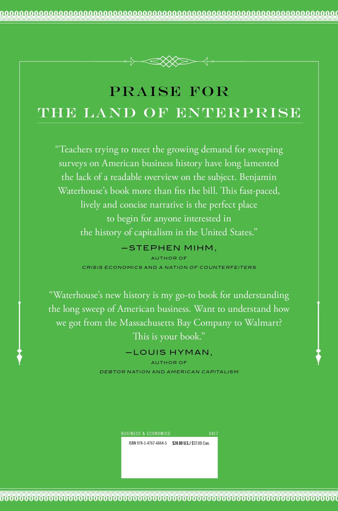 The land of enterprise 9781476766645 hr back