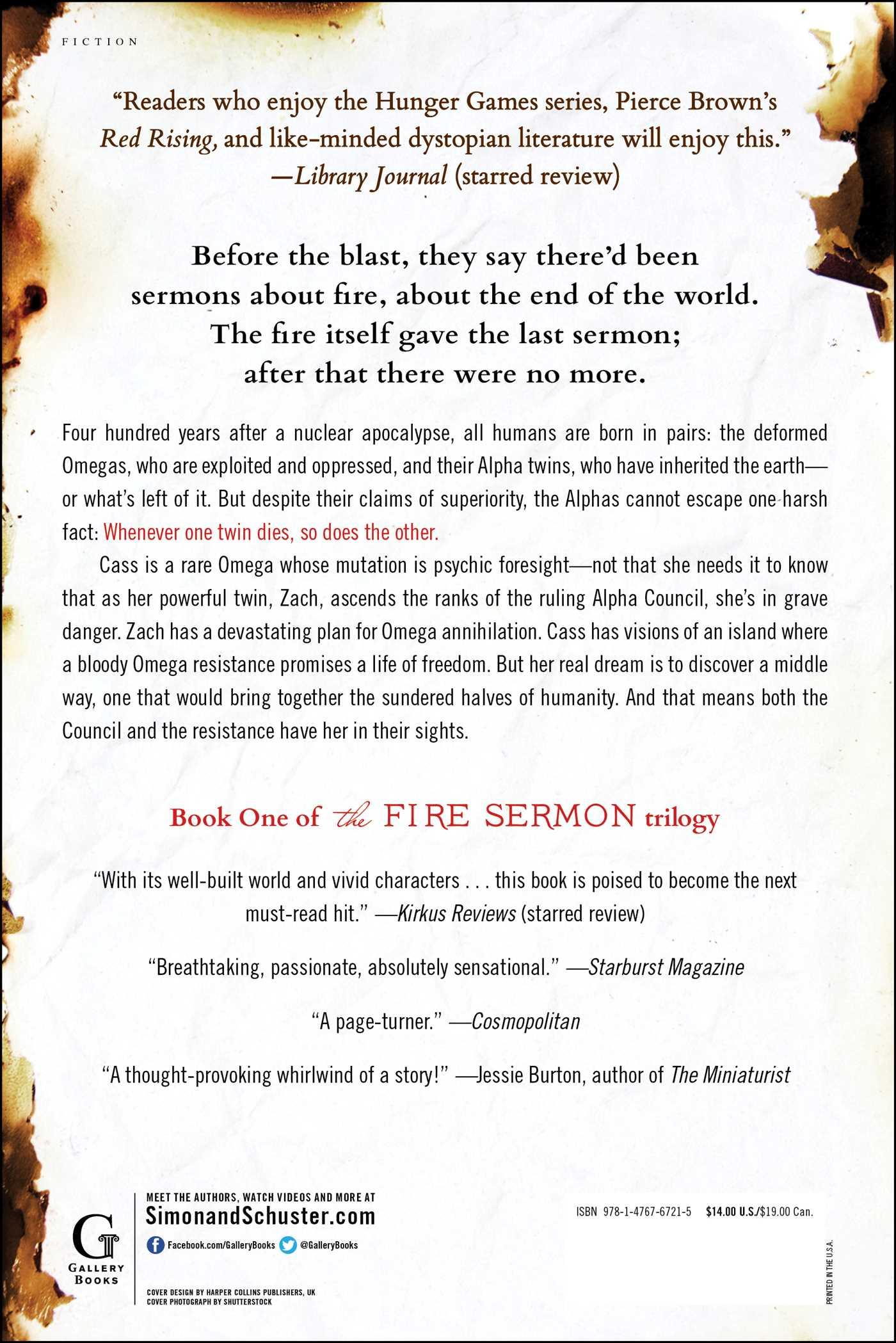 The fire sermon 9781476767215 hr back
