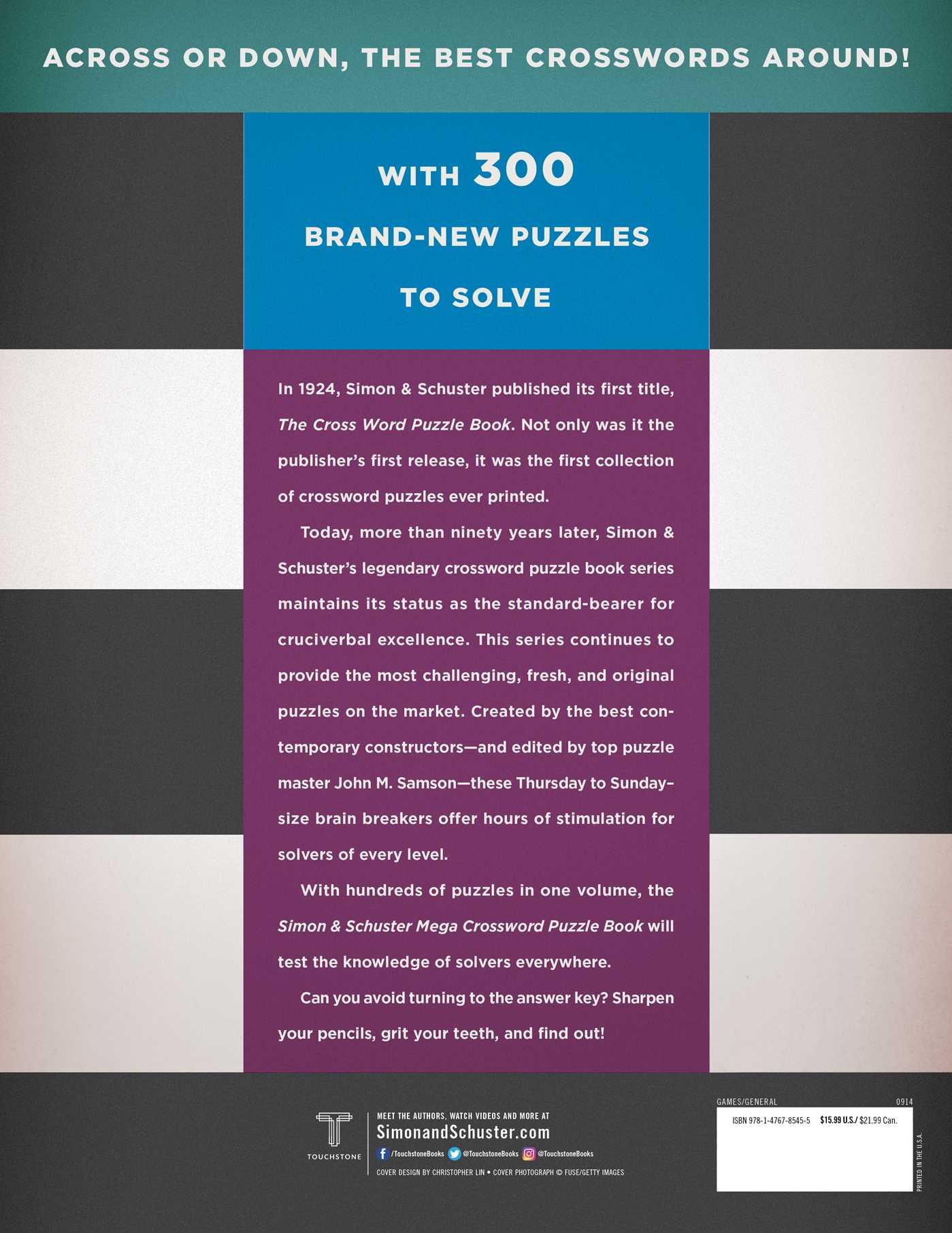Simon schuster mega crossword puzzle book 14 9781476785455 hr back