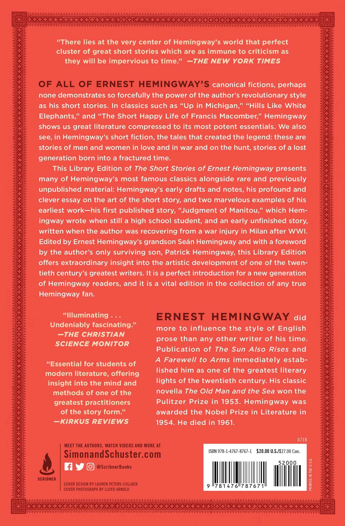 The short stories of ernest hemingway 9781476787671 hr back