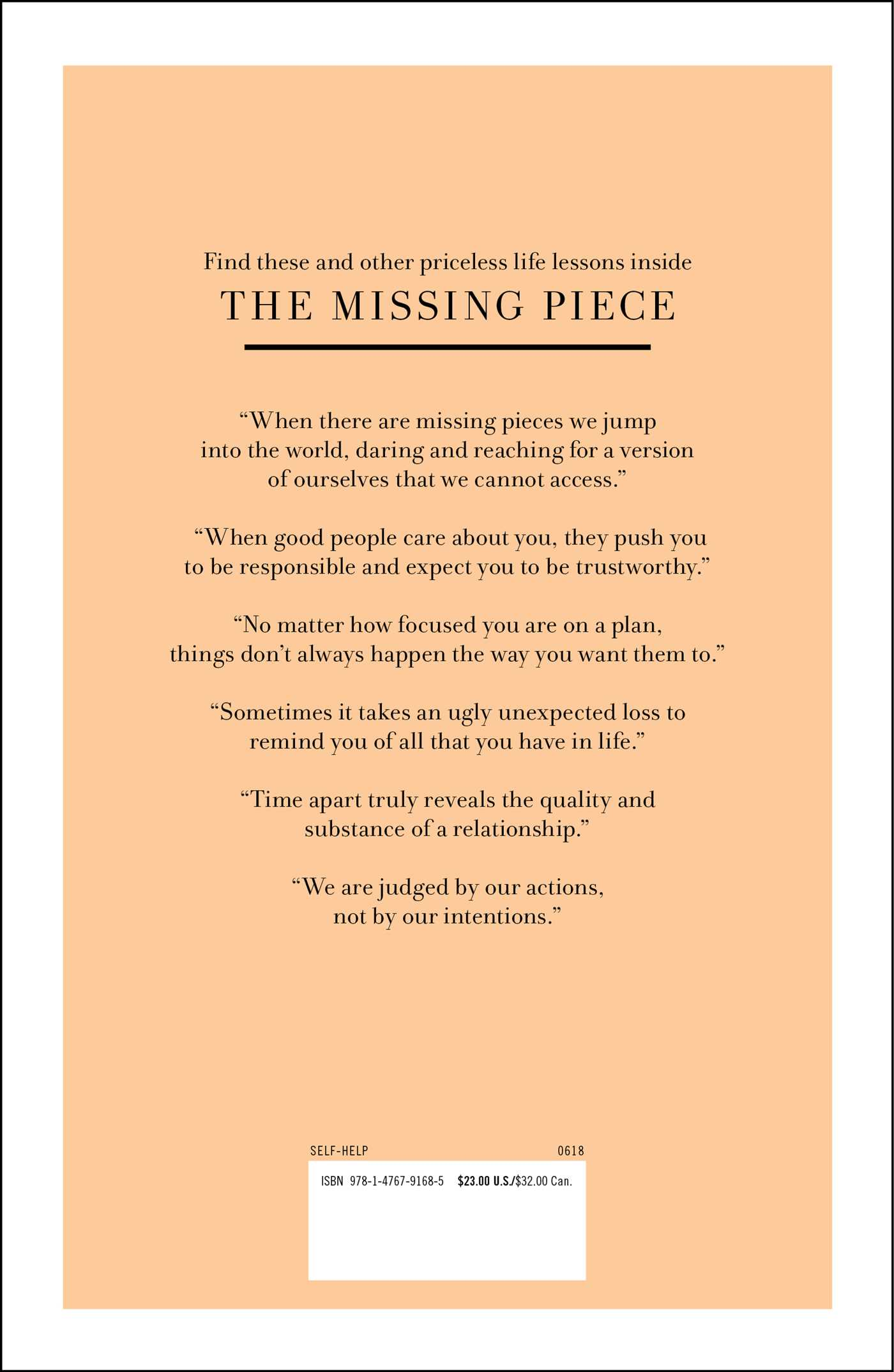 The missing piece 9781476791685 hr back