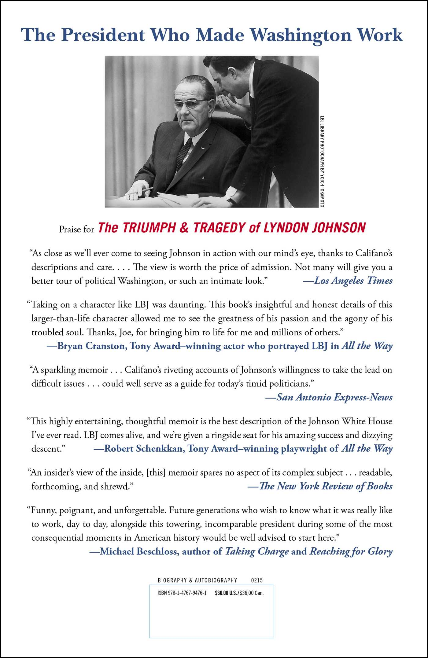 Triumph tragedy of lyndon johnson 9781476794761 hr back