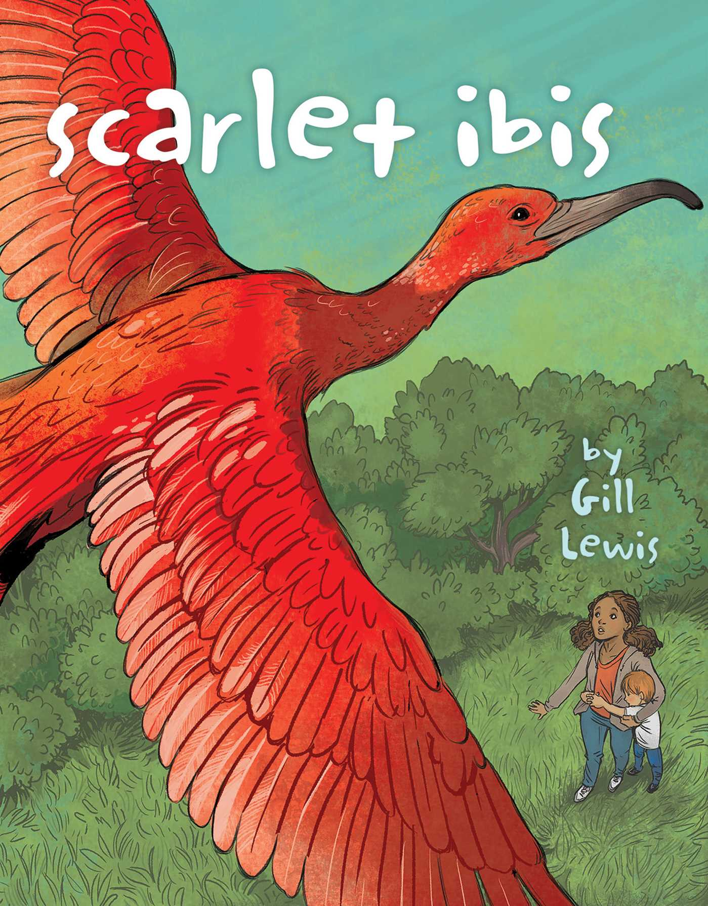 Scarlet Ibis and cartoon sketch of children
