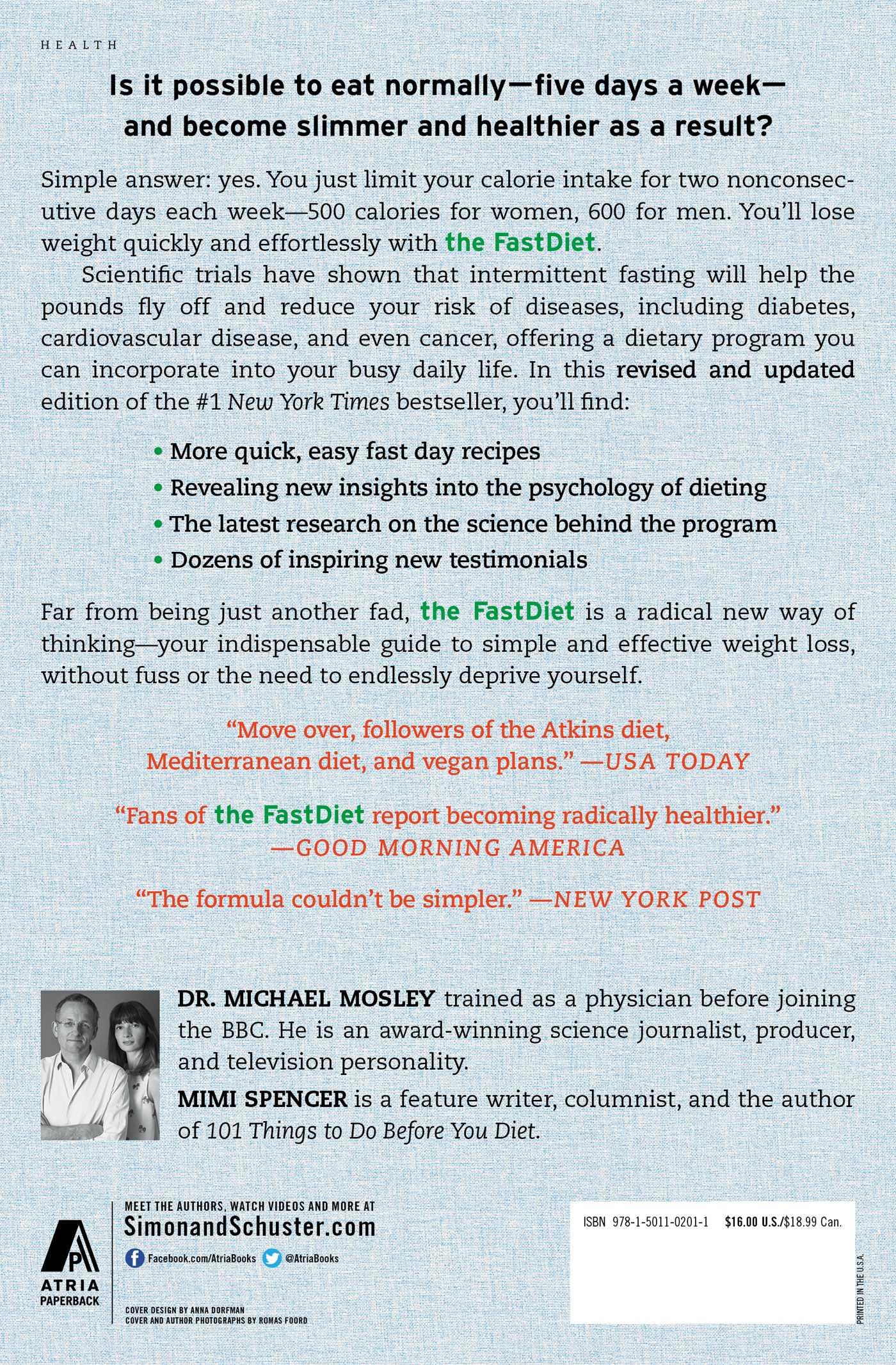 The Fastdiet Revised Updated 9781501102011 Hr Fastdiet Revised Updated 9781501102011 Hr Back