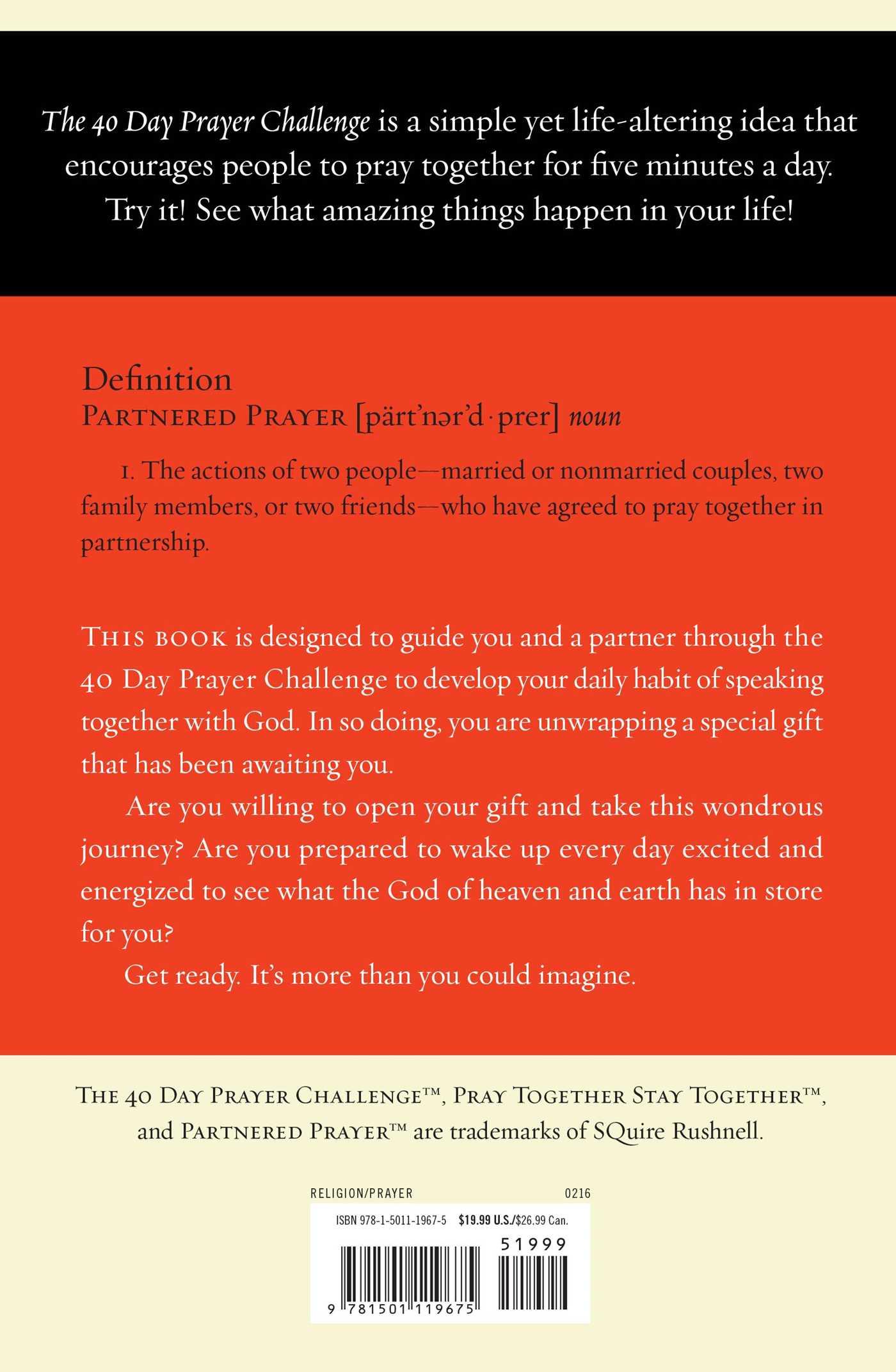 The 40 day prayer challenge 9781501119675 hr back