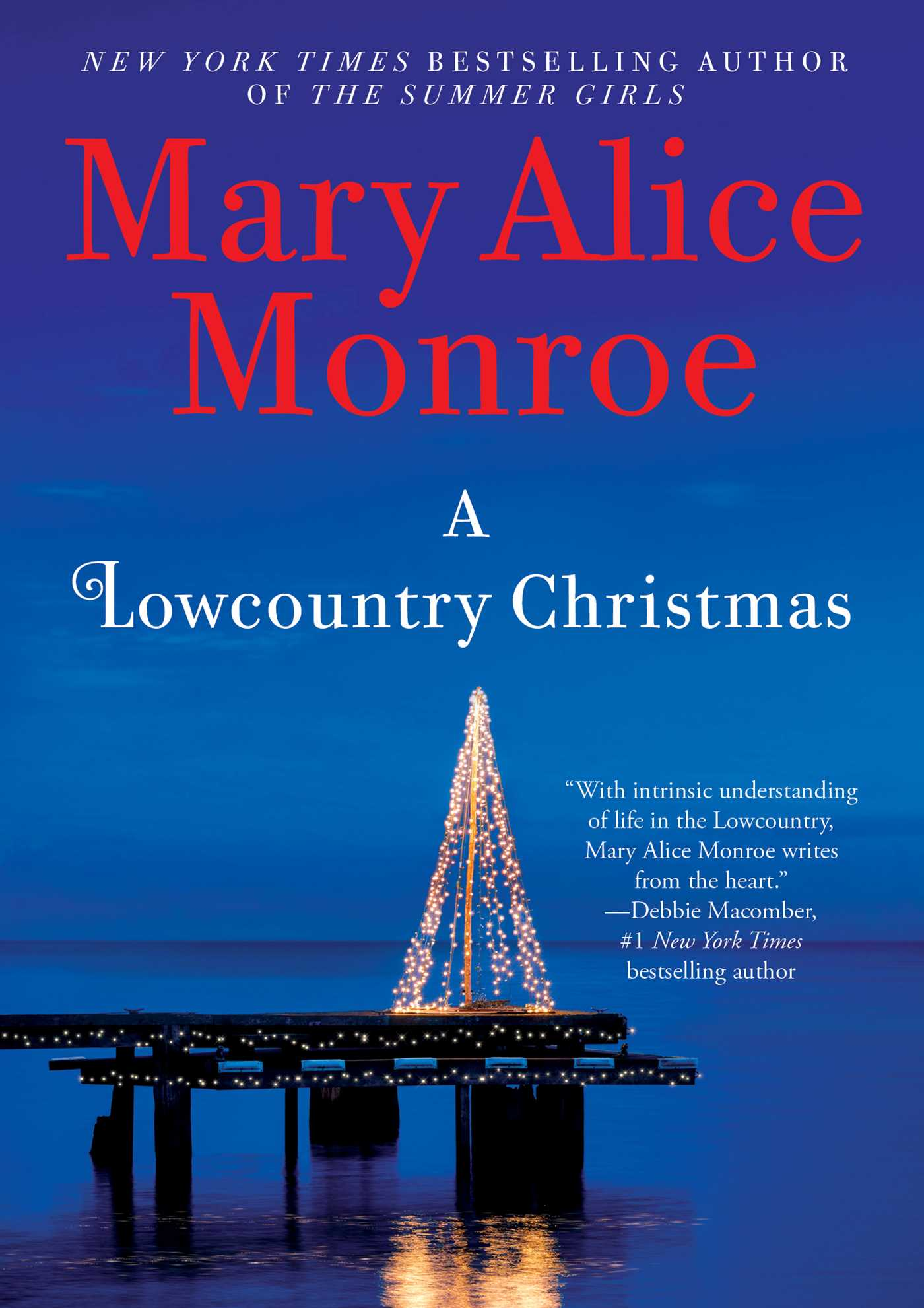 Cover of a Lowcountry Christmas, shows a lighted tree on a dock surrounded by water