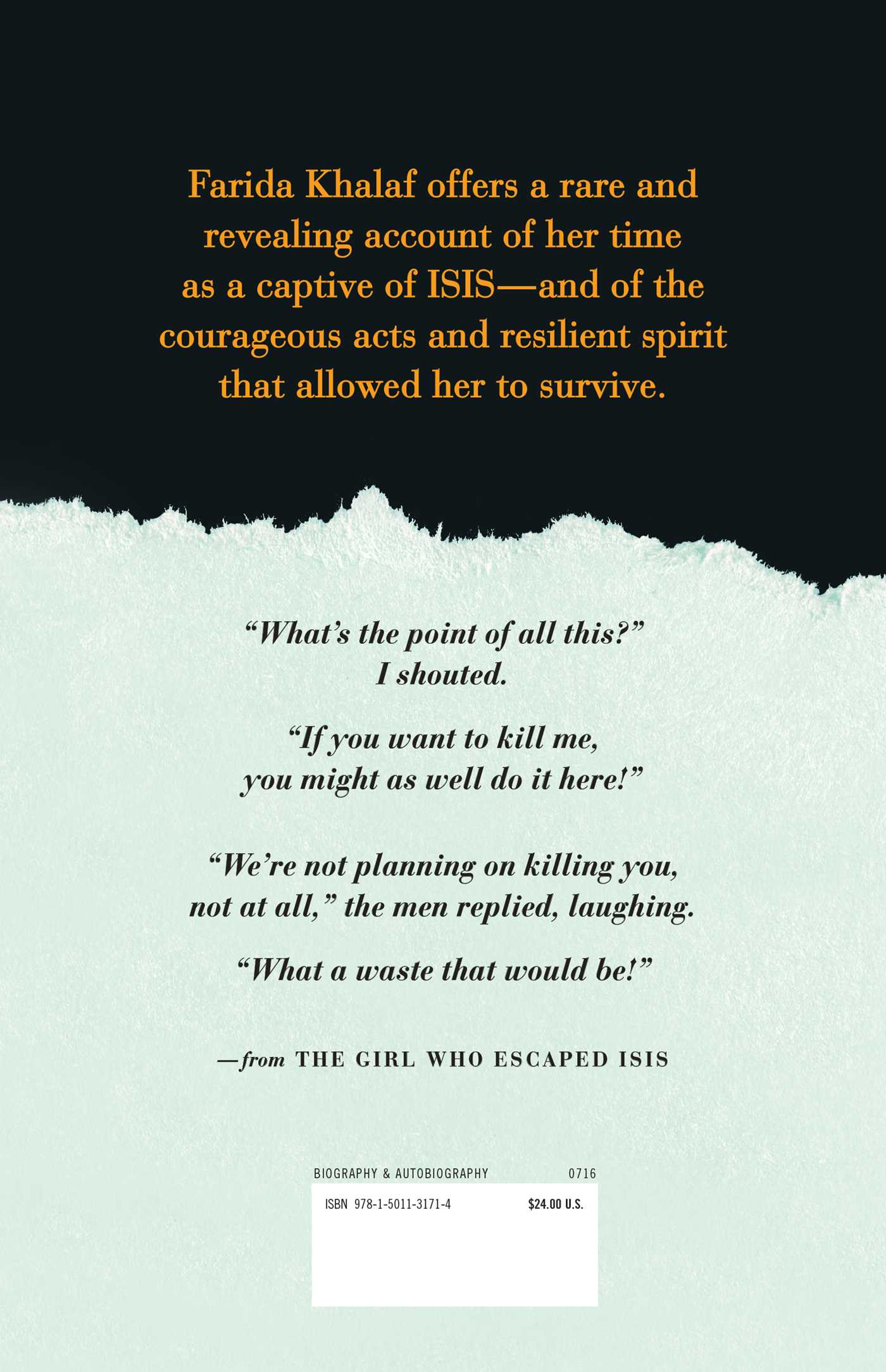 The girl who escaped isis 9781501131714 hr back