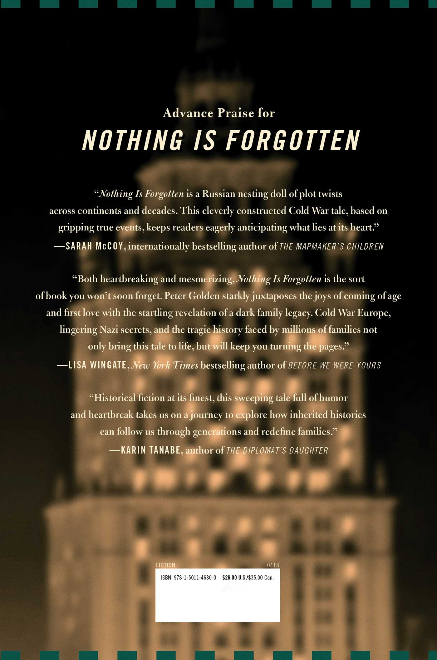 Nothing is forgotten 9781501146800 hr back