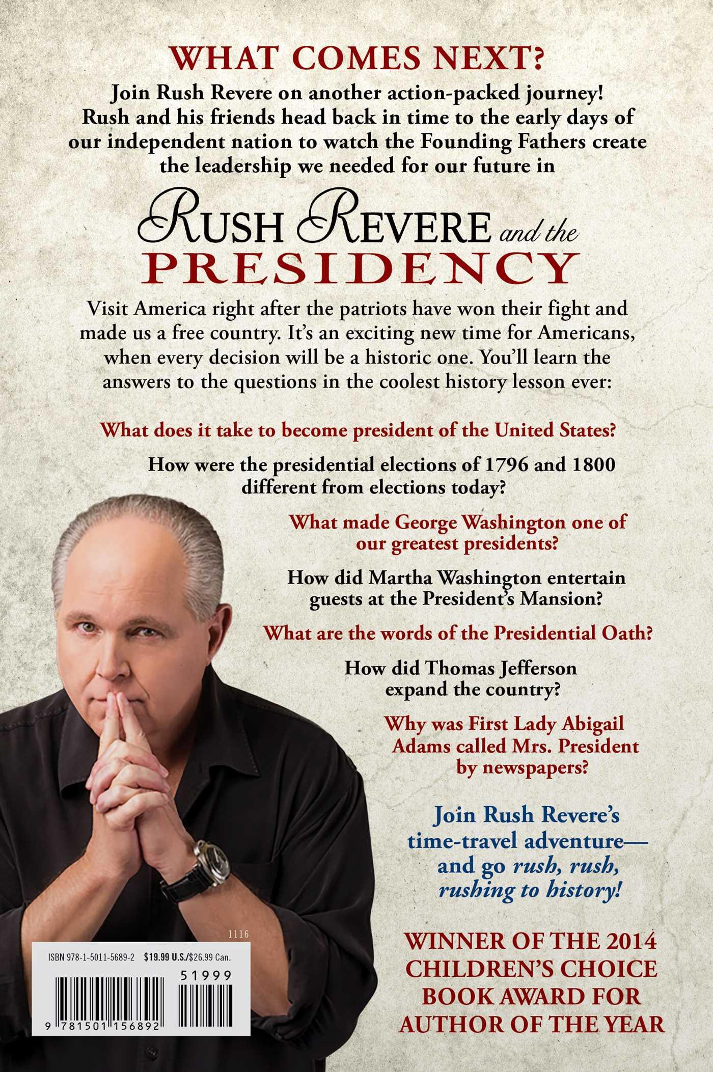 Rush revere and the presidency 9781501156892 hr back