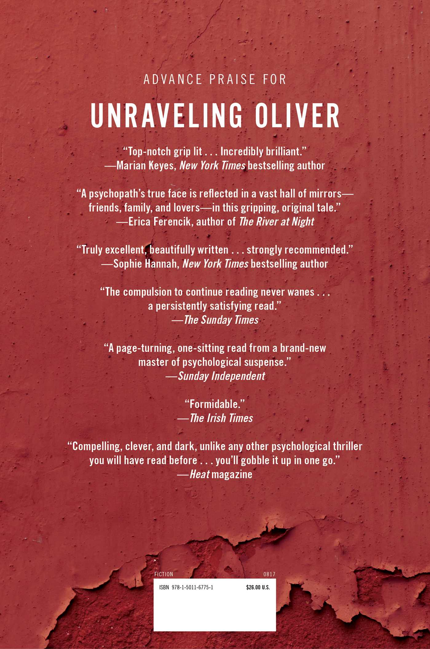 Unraveling oliver 9781501167751 hr back