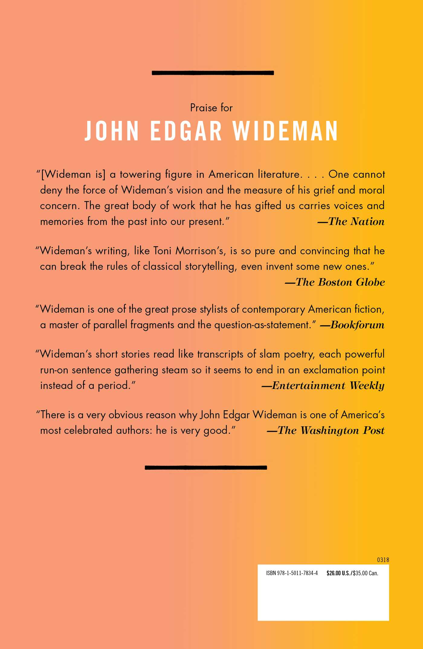 a review of john edgar widemans story our time John edgar wideman 1941– american novelist, short story writer, nonfiction writer, and critic the following entry presents an overview of wideman's career through 1997.